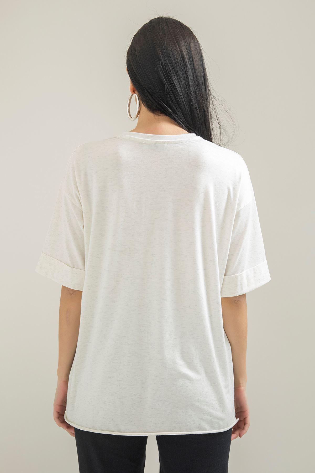 Geniş Cepli Salaş T-shirt-Beyaz