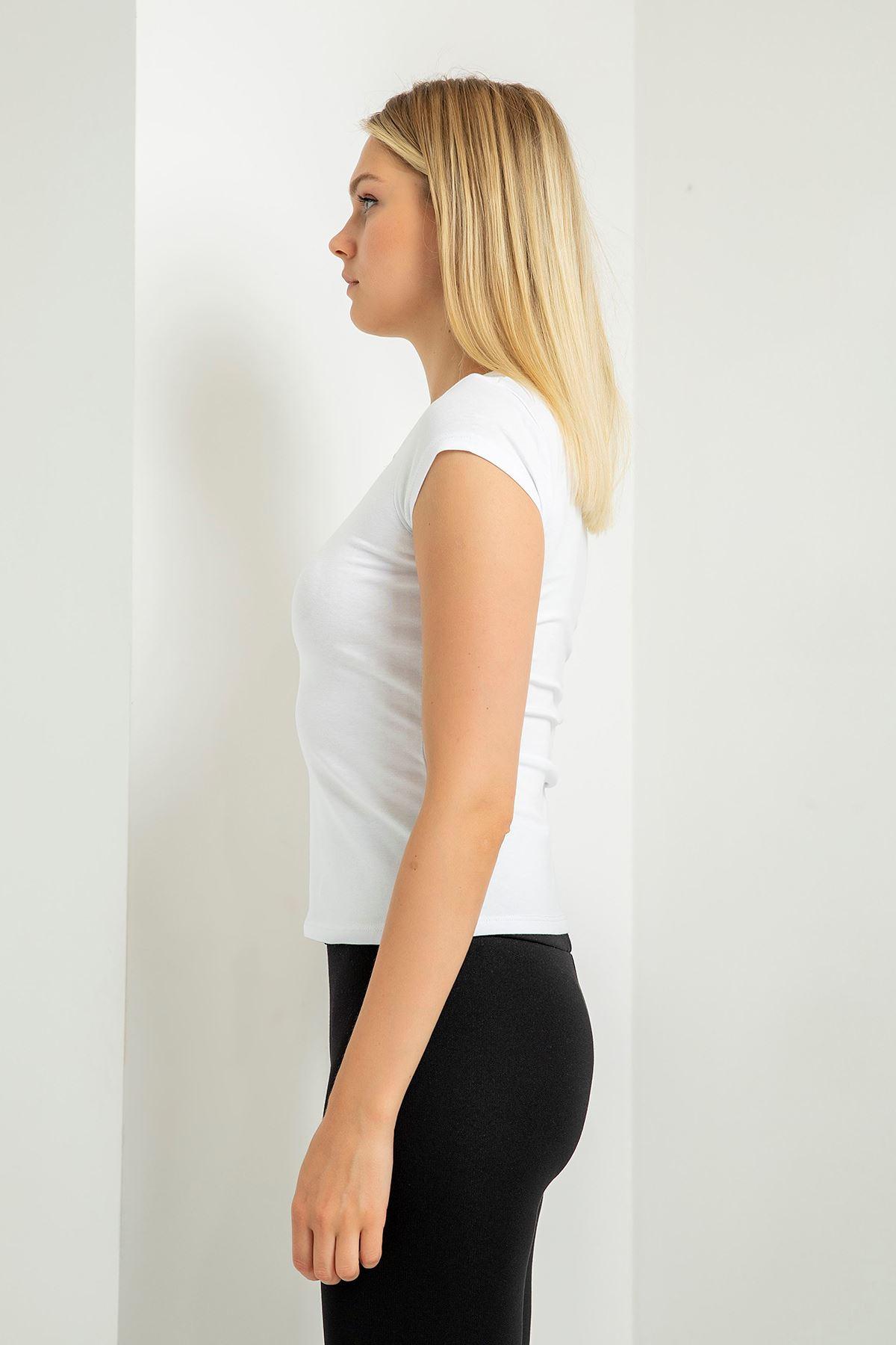 Önü Düğmeli Basic T-Shirt-Beyaz