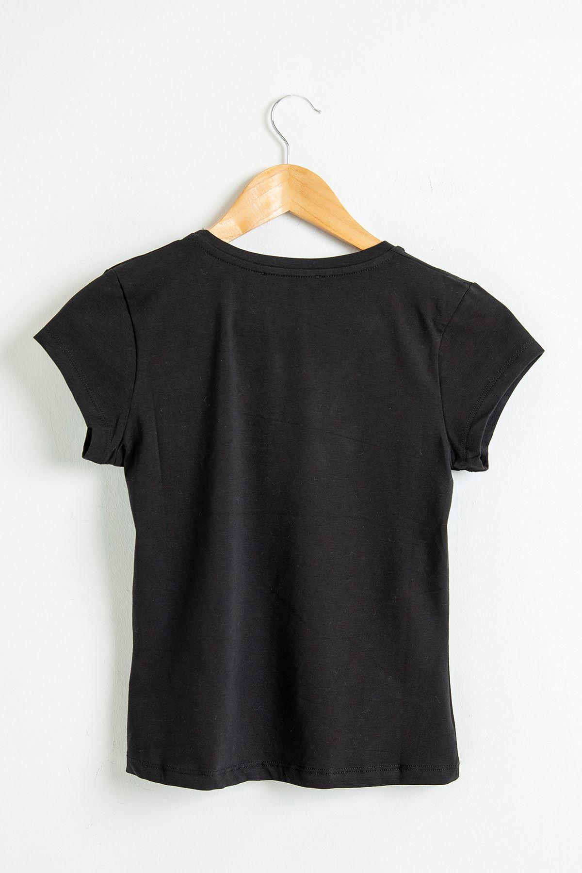 V Yaka T-Shirt-Siyah