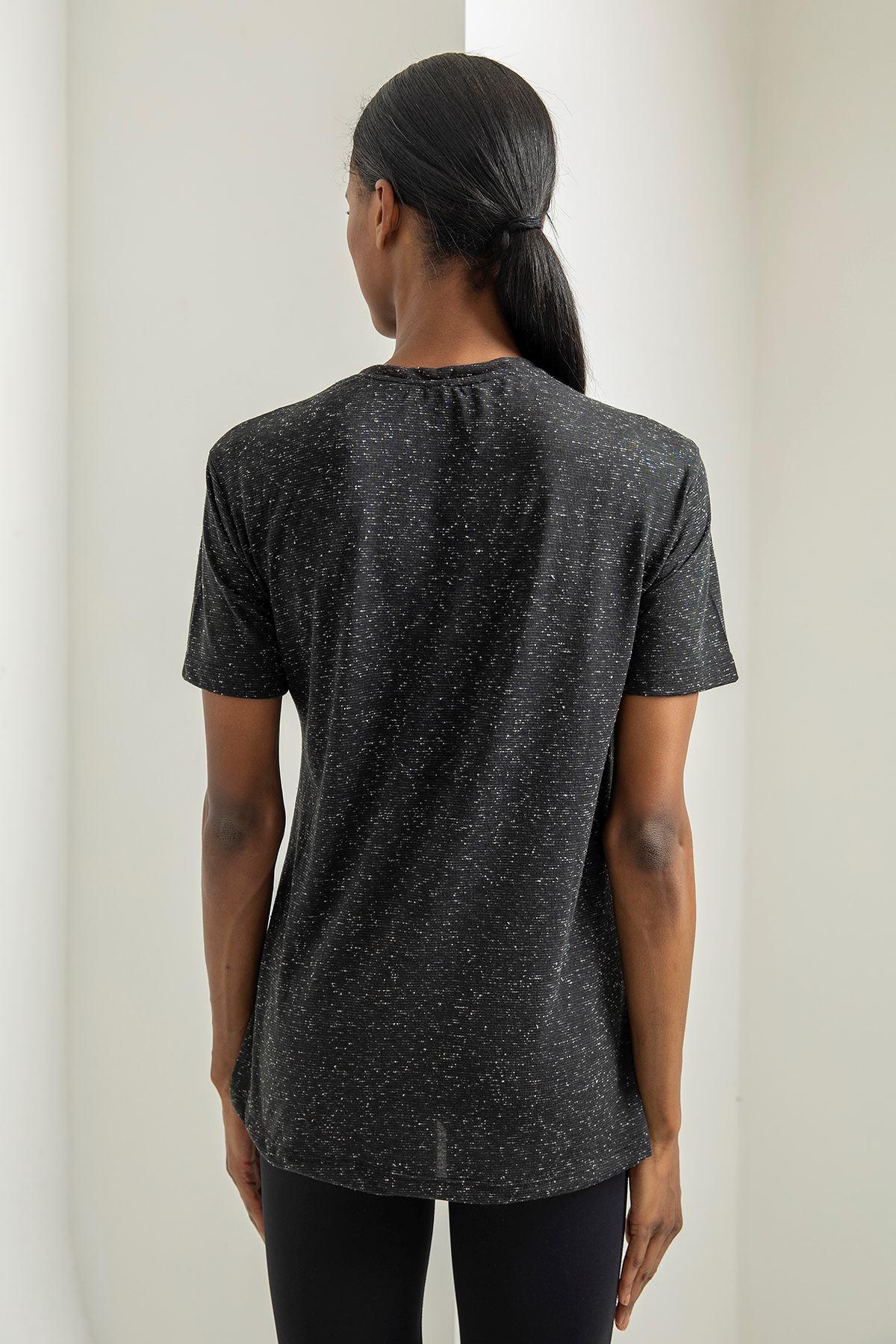 Black Baskılı T-shirt-Siyah