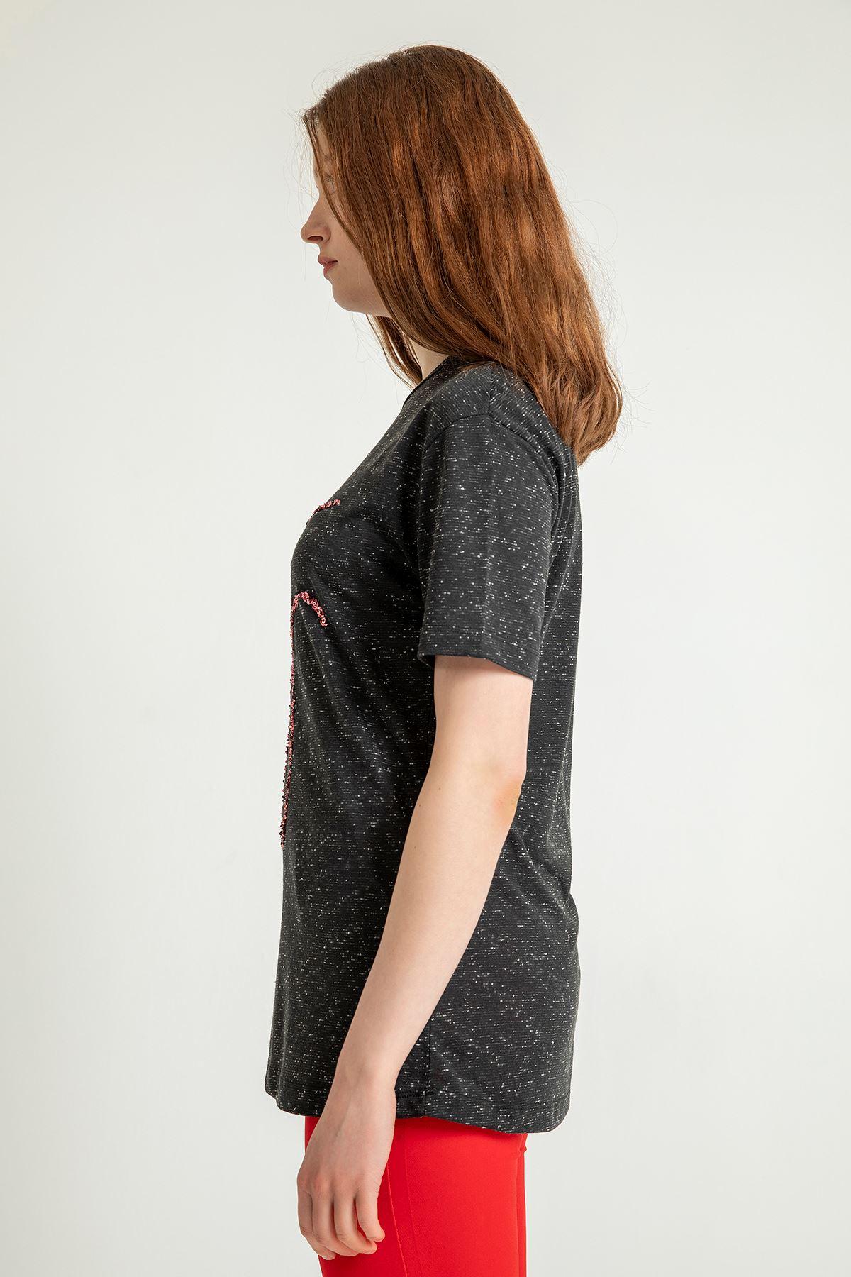 Stay Baskılı Salaş T-shirt-Siyah