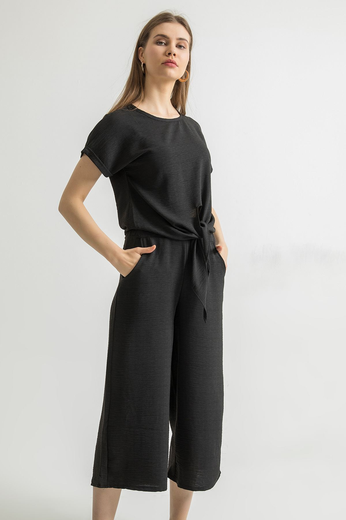Bağlama Detay Pantolon Takım-Siyah