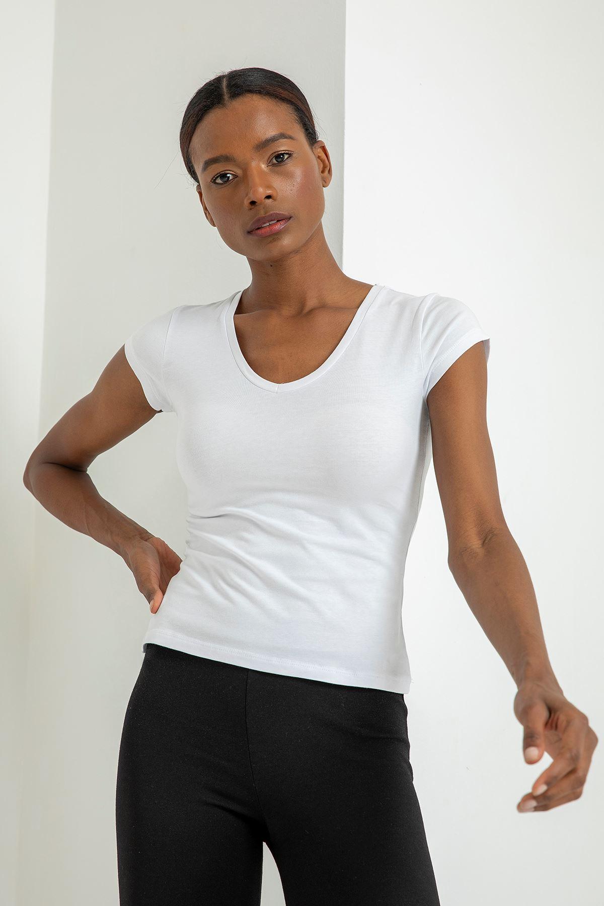 V Yaka T-Shirt-Beyaz