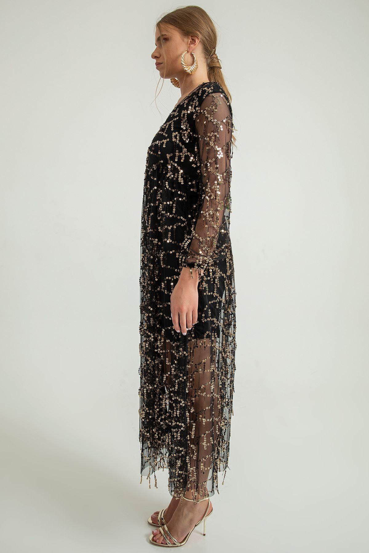 Payetli Tül Elbise-Siyah