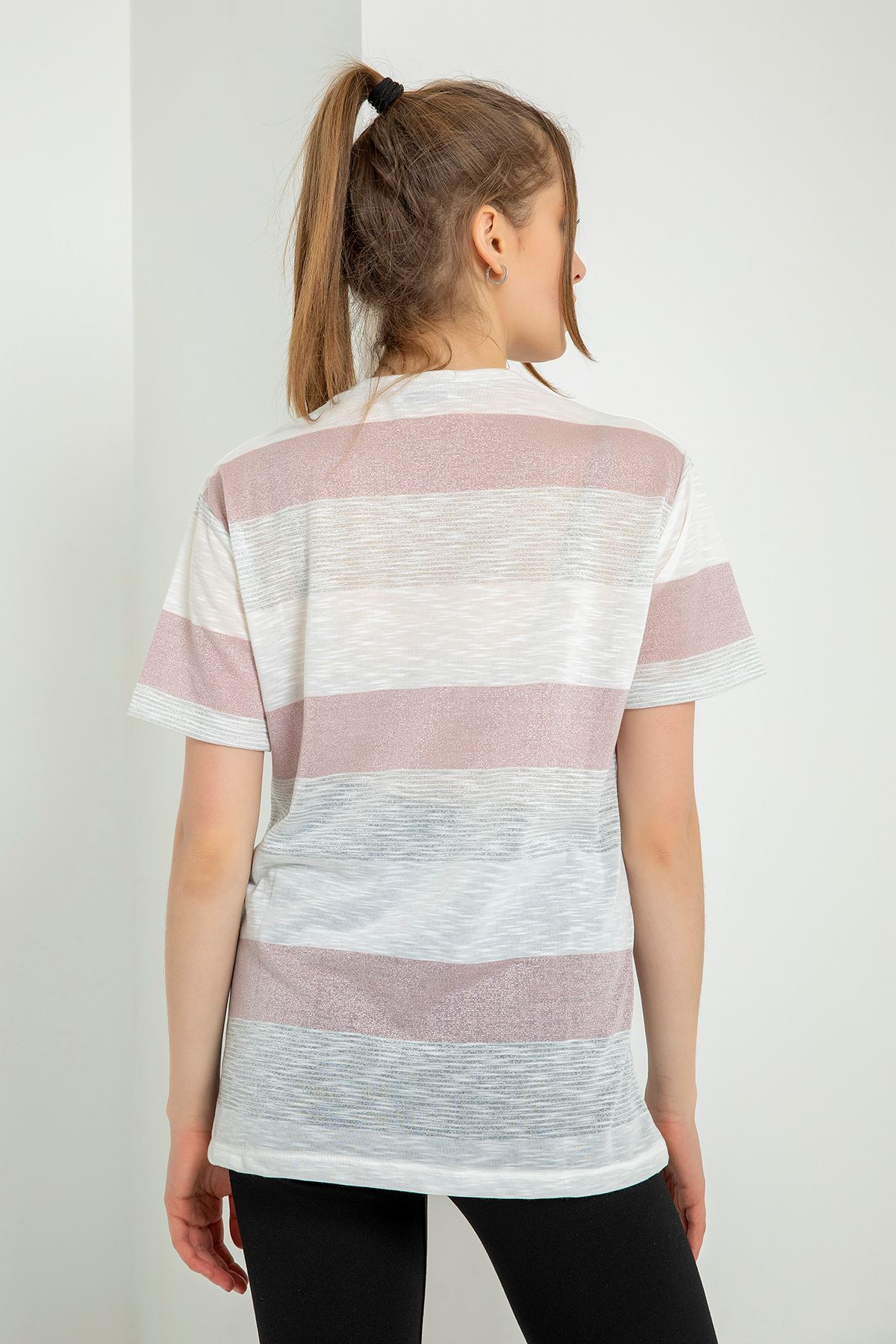 Choose Happy Baskılı T-shirt-Pudra