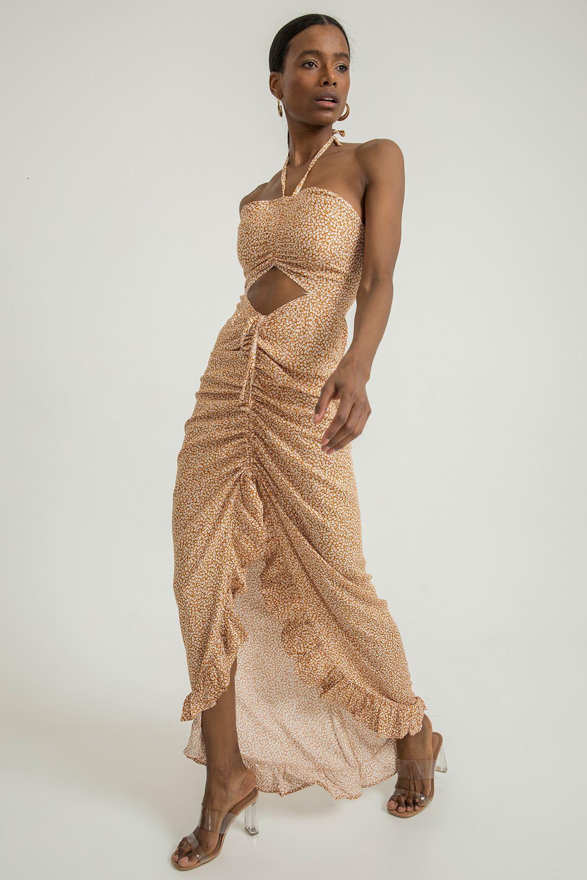 Fırfır Detay Çiçek Desen Elbise-Hardal
