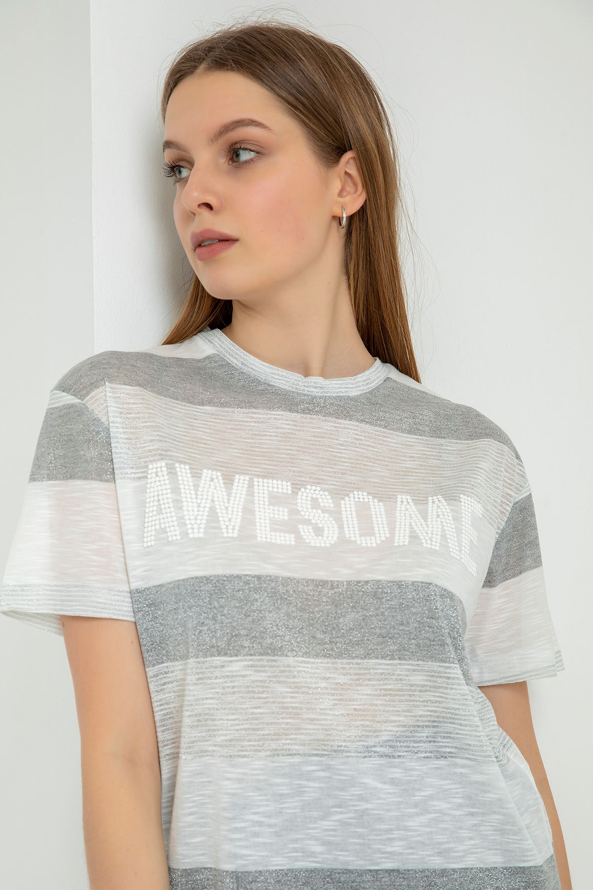 Awesome Baskılı T-shirt-Gri