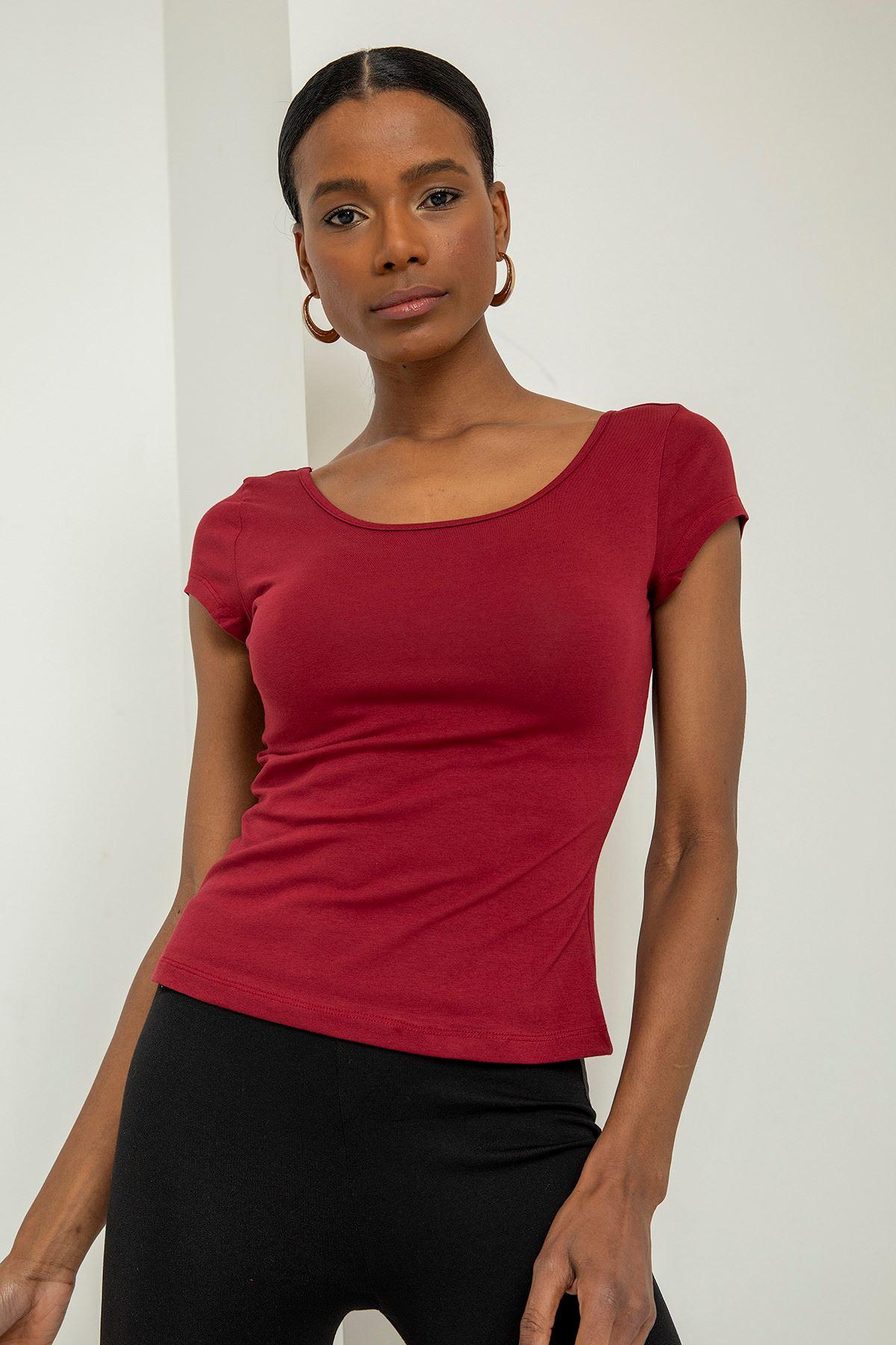 Kısa Kollu Basic T-shirt-Bordo