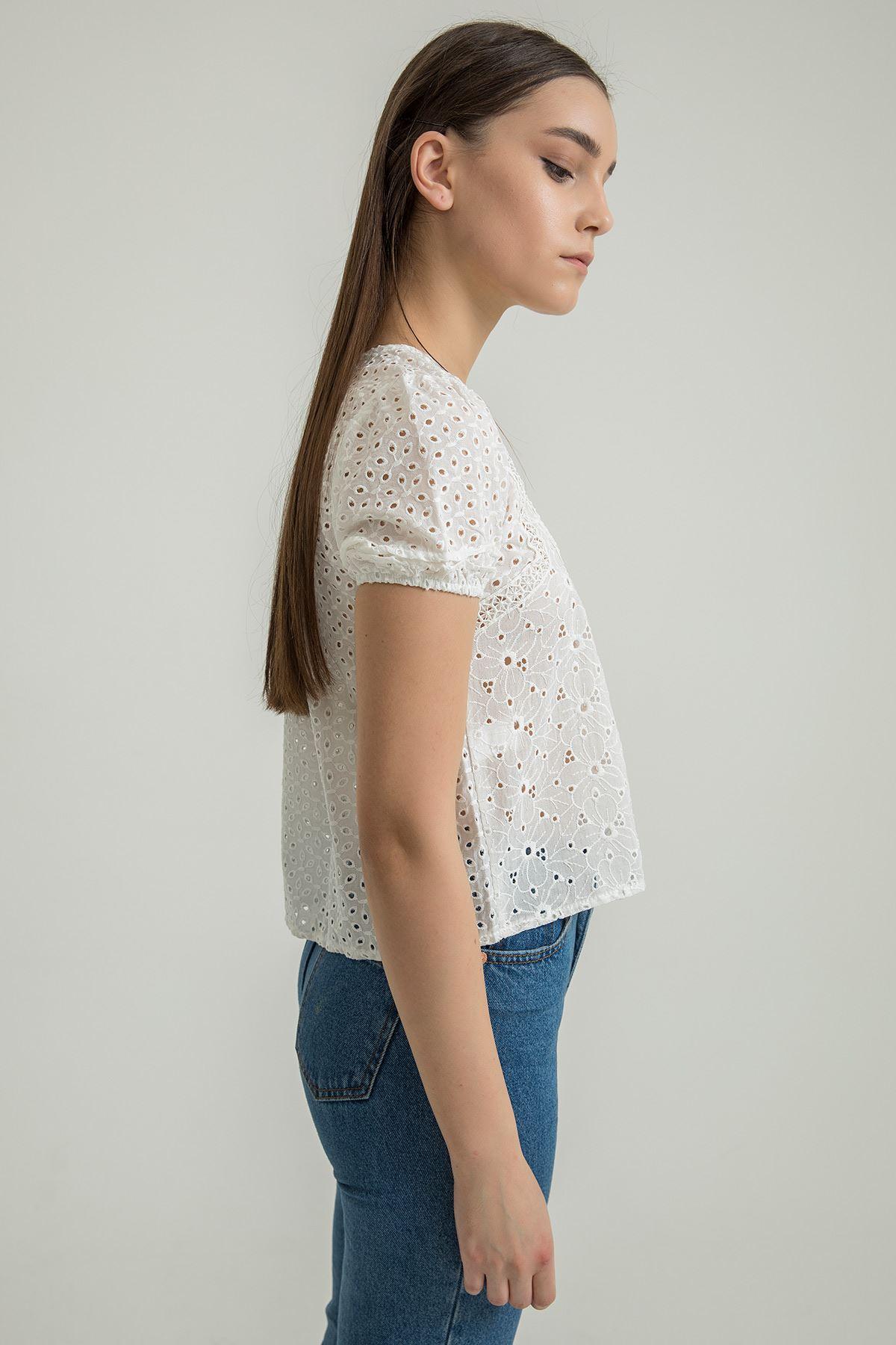 Karpuz Kol Dantel Bluz-Beyaz