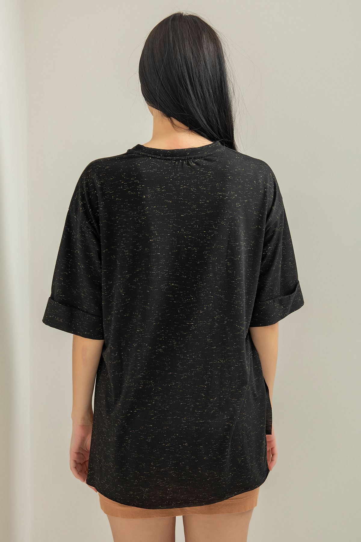 Geniş Cepli Salaş T-shirt-Siyah