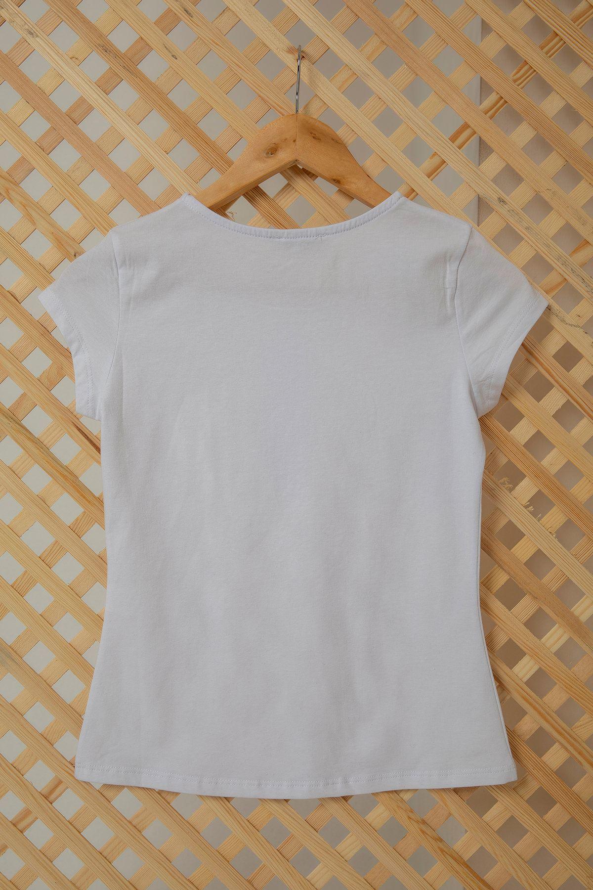 Önü Düğme Detaylı T-shirt-Beyaz