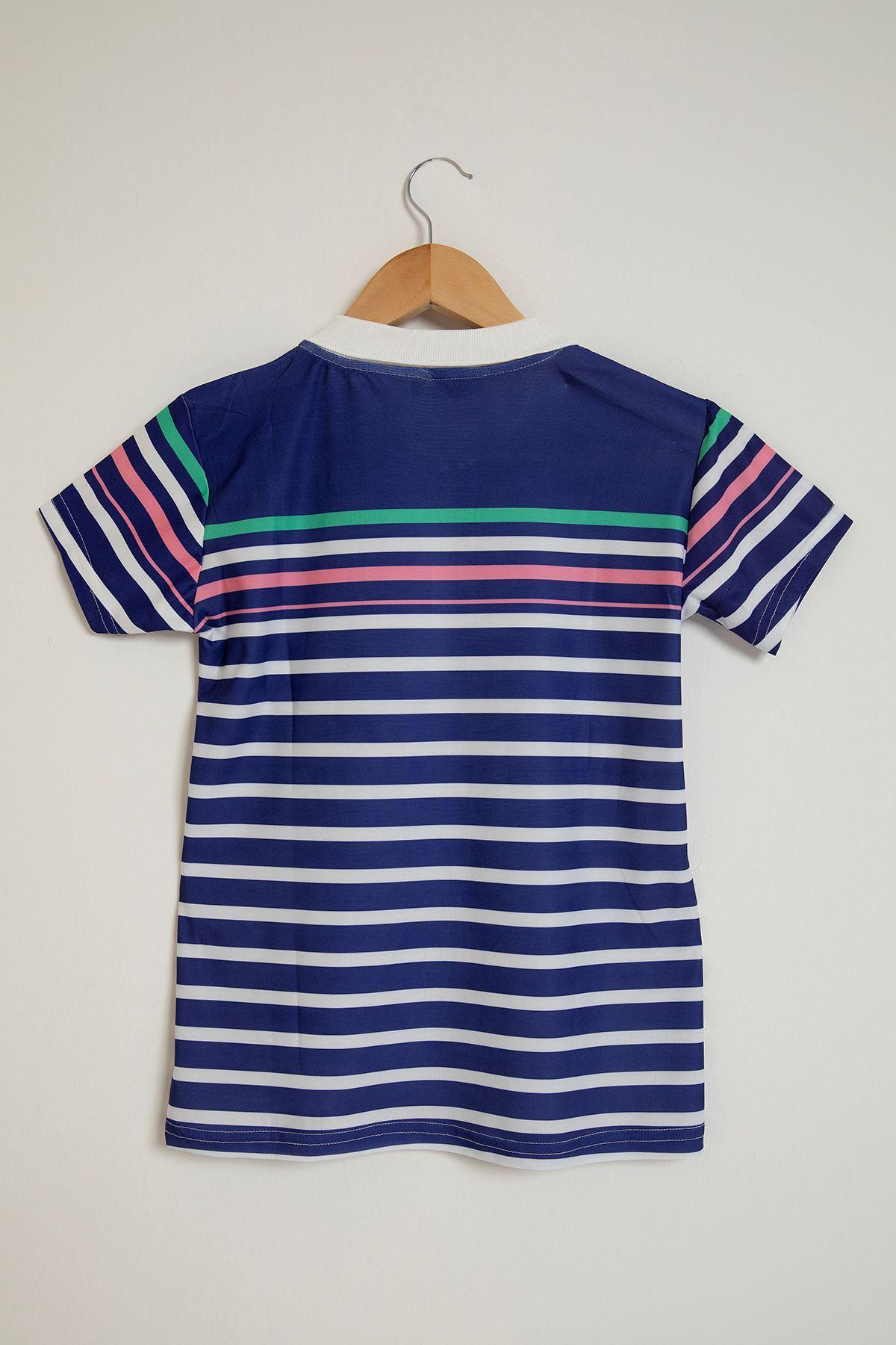 Çizgi Desen Yakalı T-Shirt-İndigo