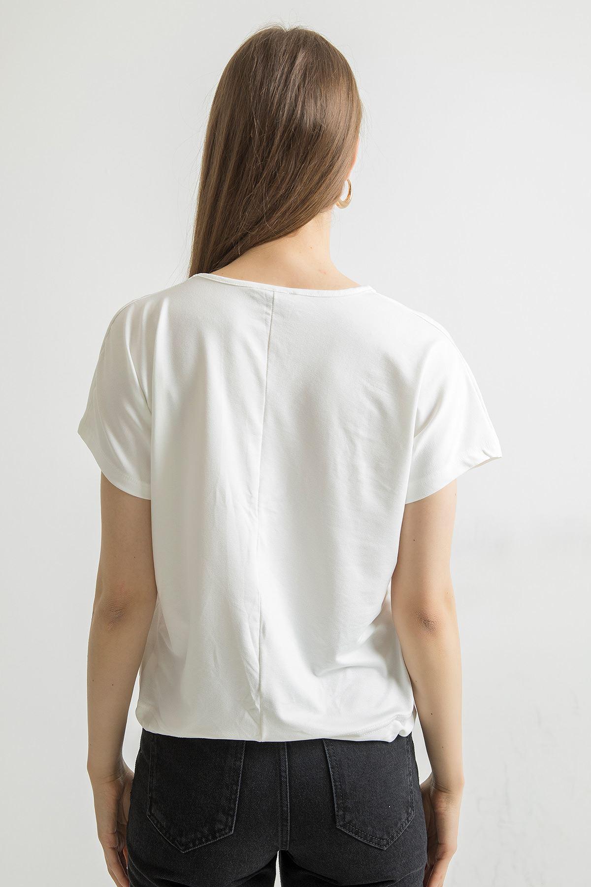 Bağlama Detay V Yaka Bluz-Beyaz