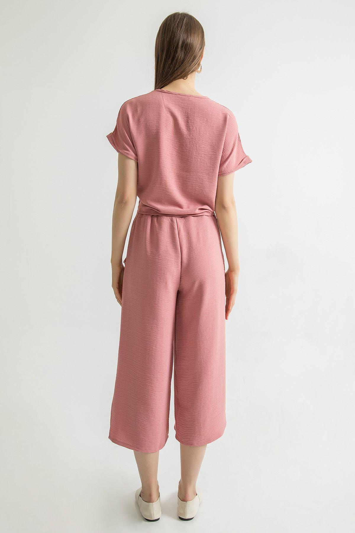 Bağlama Detay Pantolon Takım-Pudra