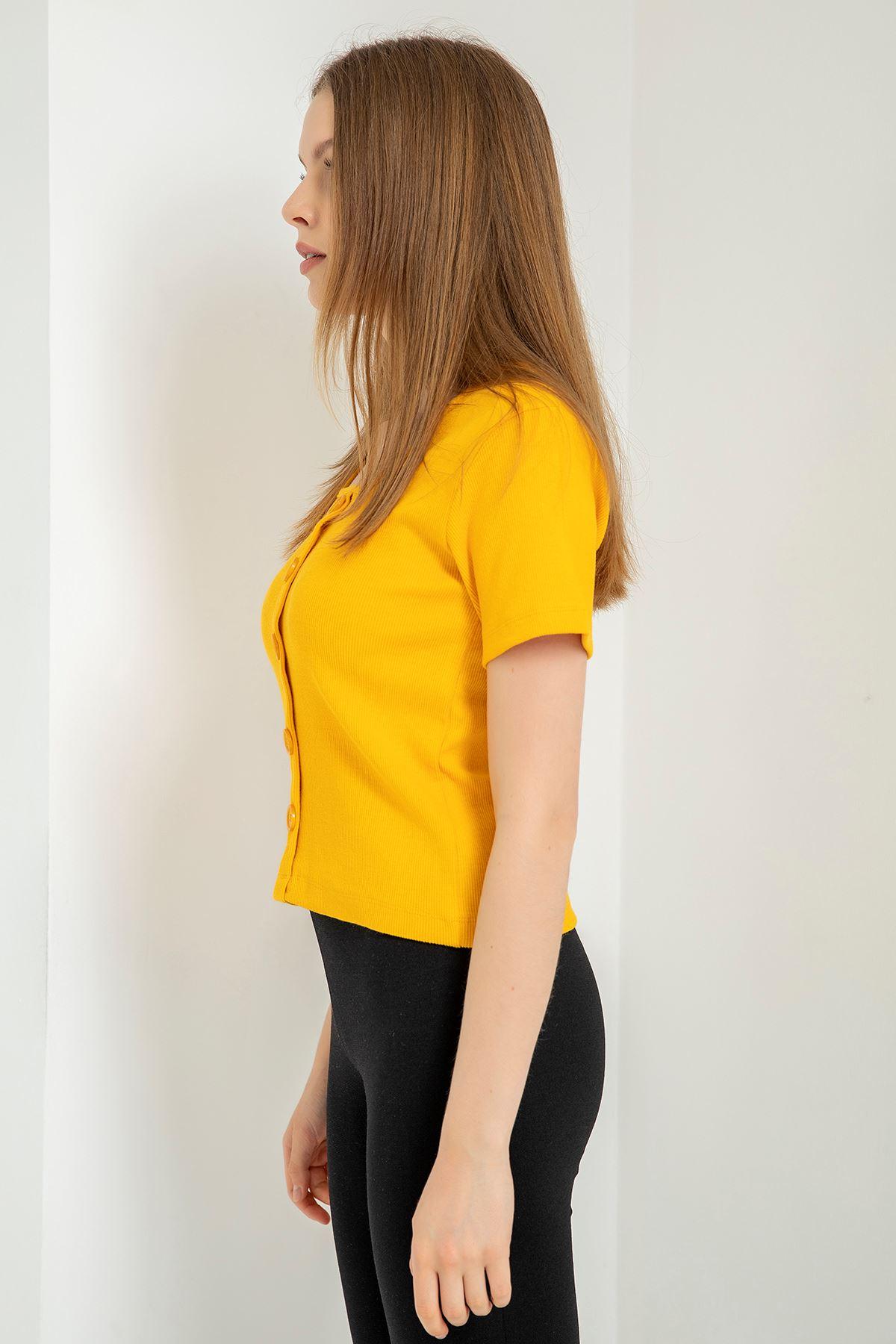 Düğmeli Kaşkorse Bluz-Sarı