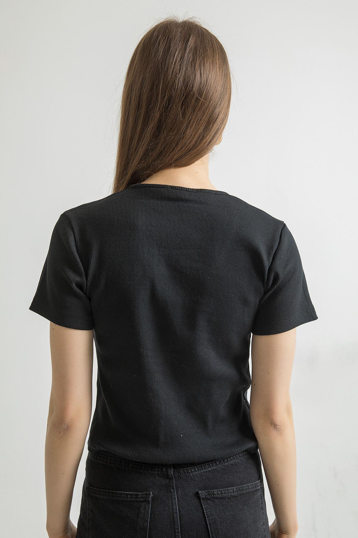 Düğmeli Kaşkorse Bluz-Siyah
