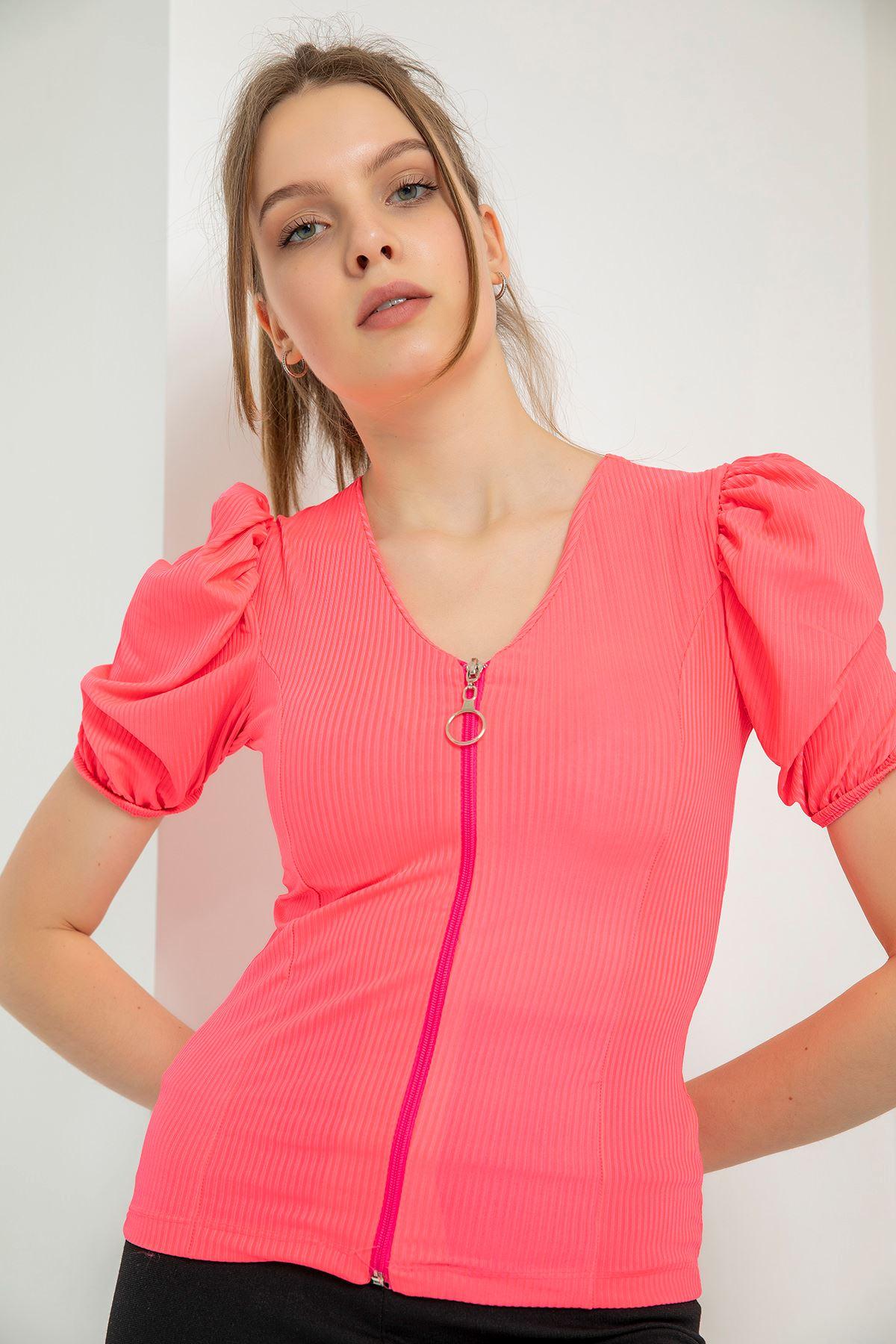Önü Fermuarlı Kaşkorse Bluz-Neon Fuşya