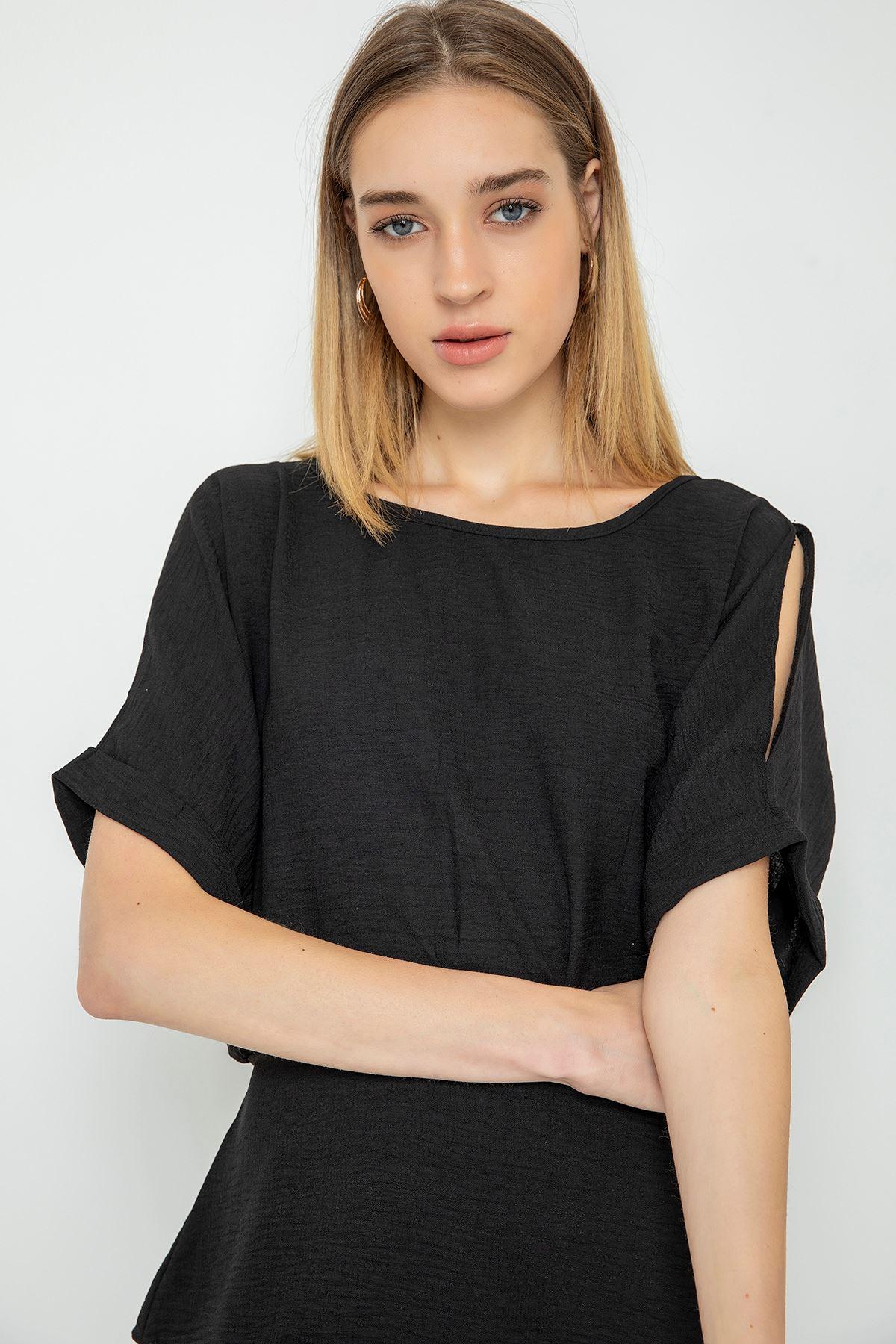 Omuz Detaylı Bluz-Siyah