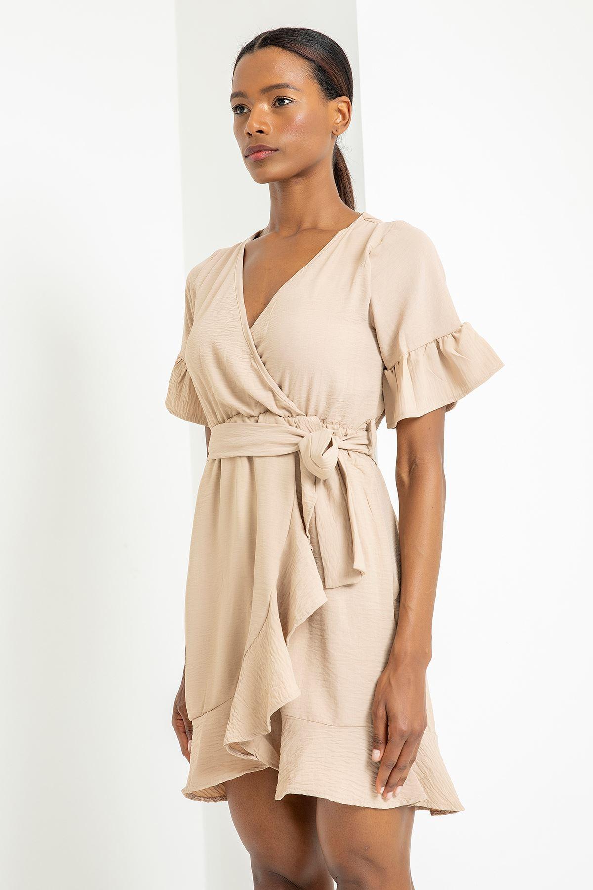 Kruvaze Yaka Önü Volanlı Elbise-Taş