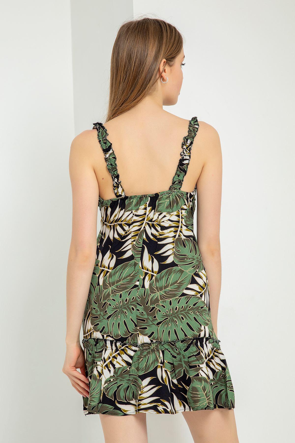 Yaprak Desen Eteği Fırfırlı Elbise-Haki