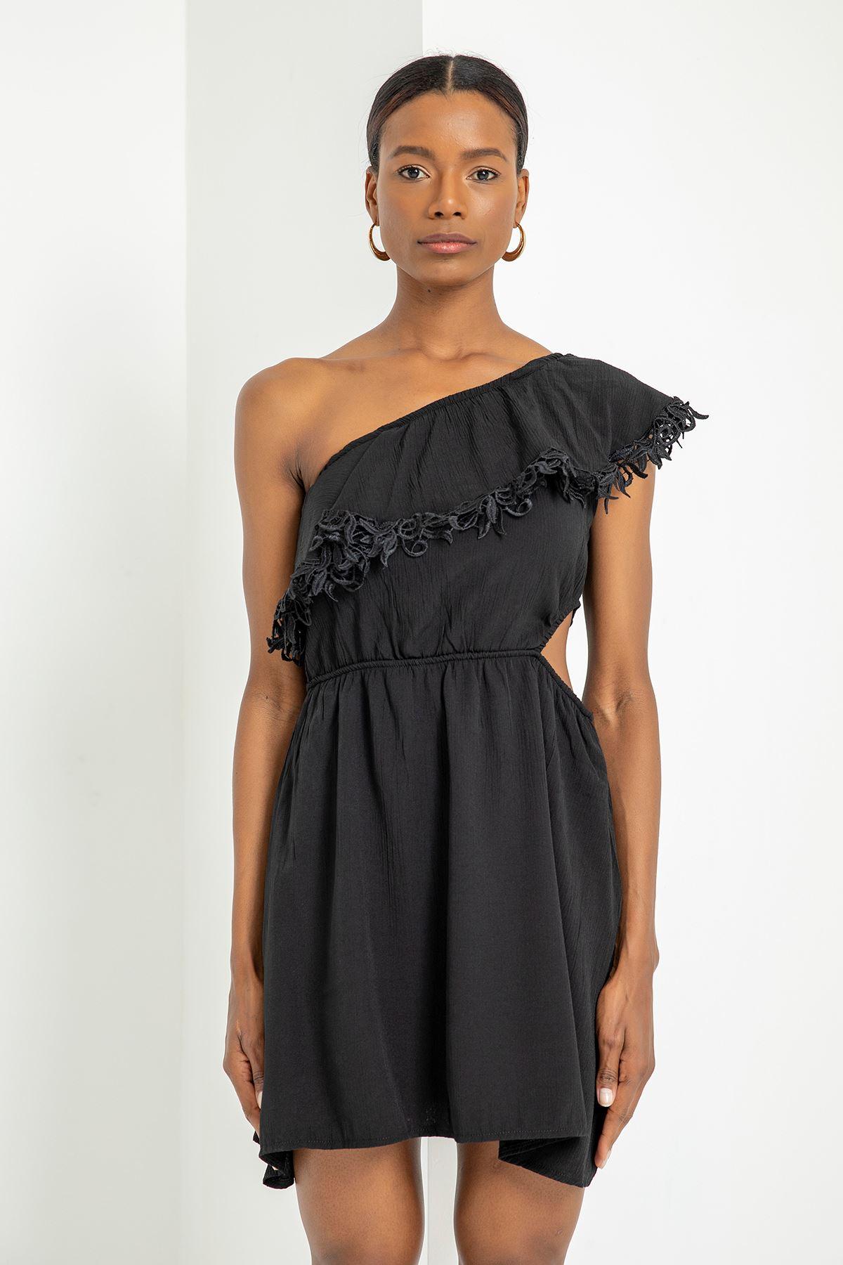 Tek Omuz Dantel Detay Elbise-Siyah