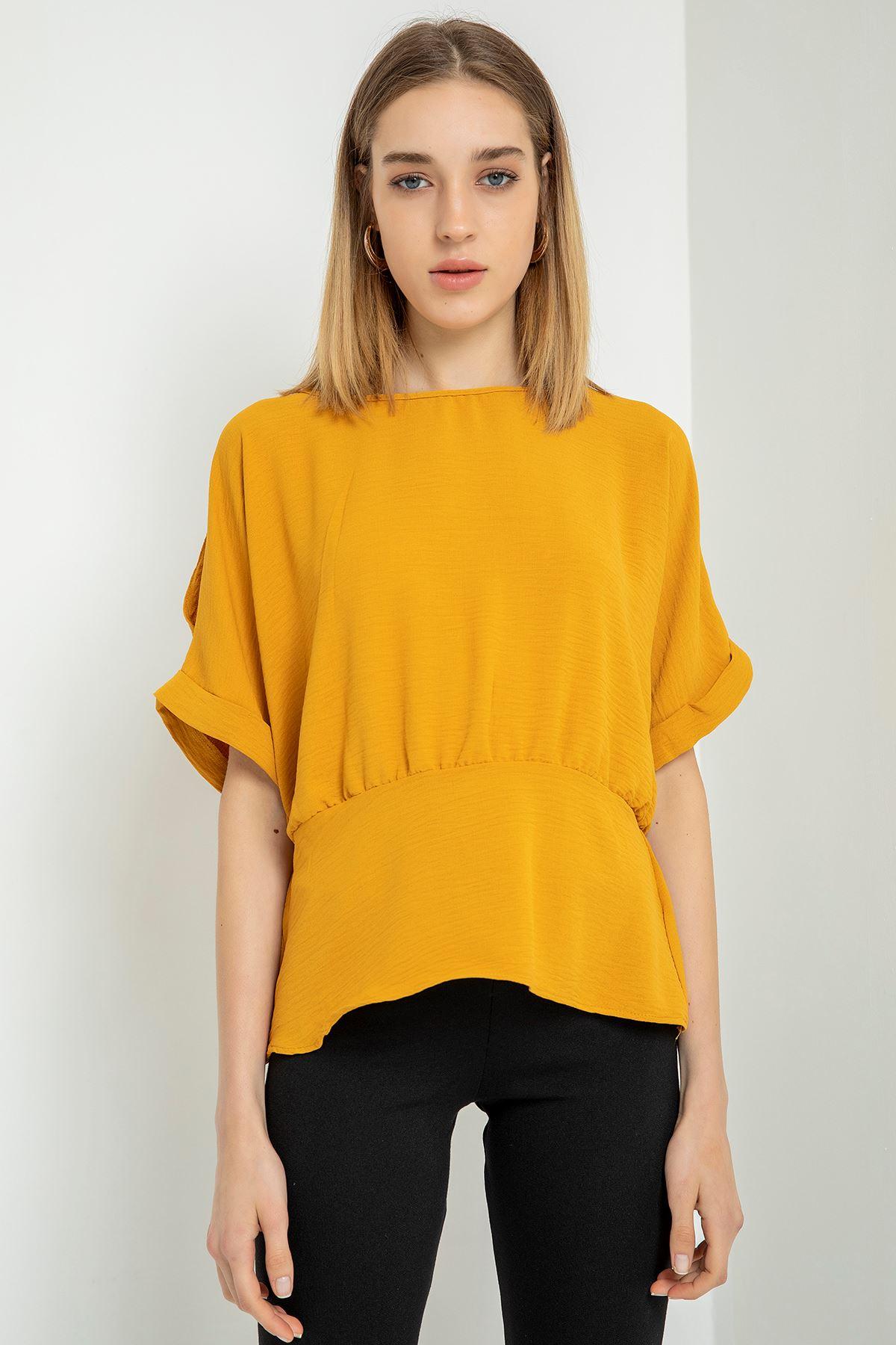 Omuz Detaylı Bluz-Hardal