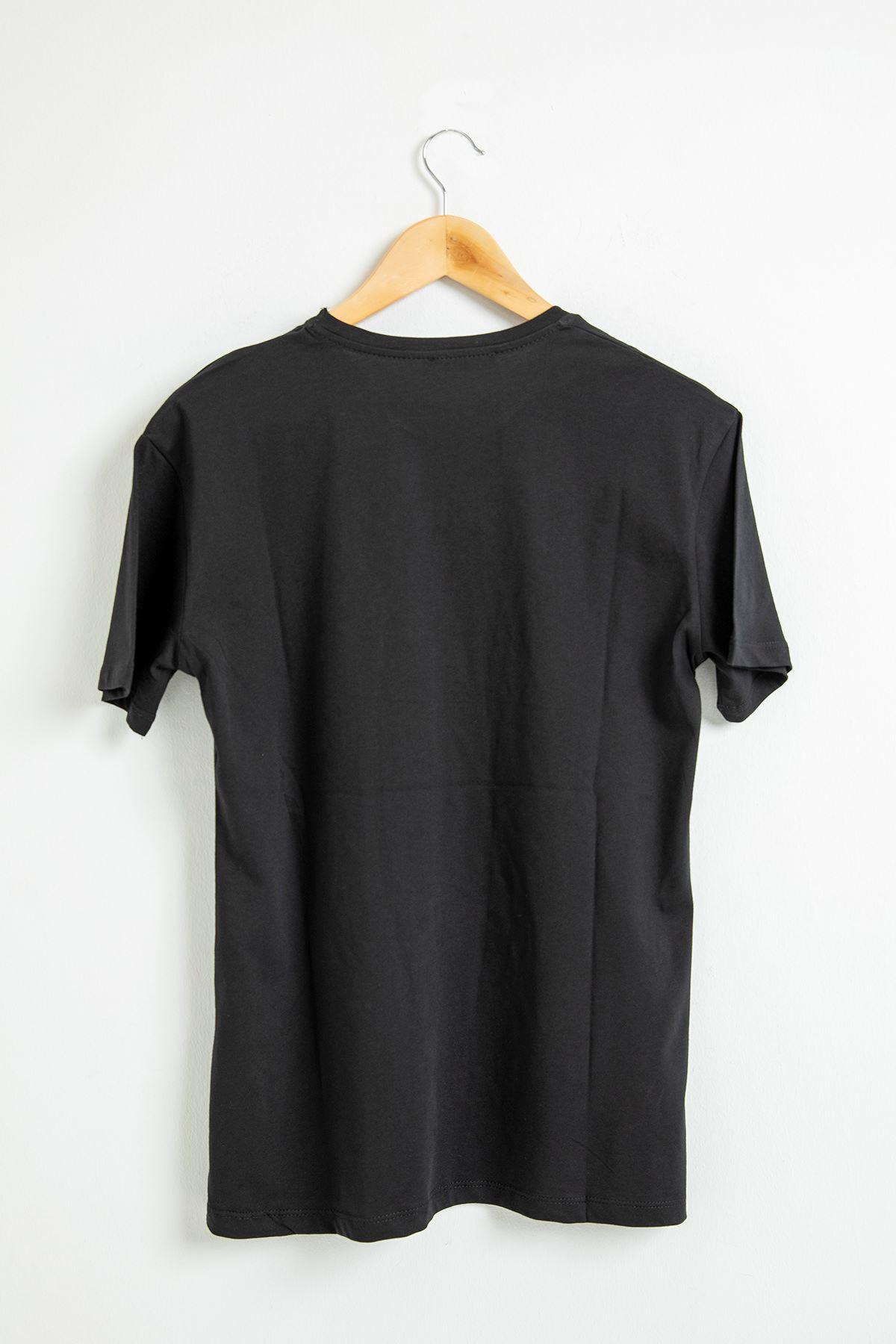 Kız Figürlü Salaş T-Shirt-Siyah