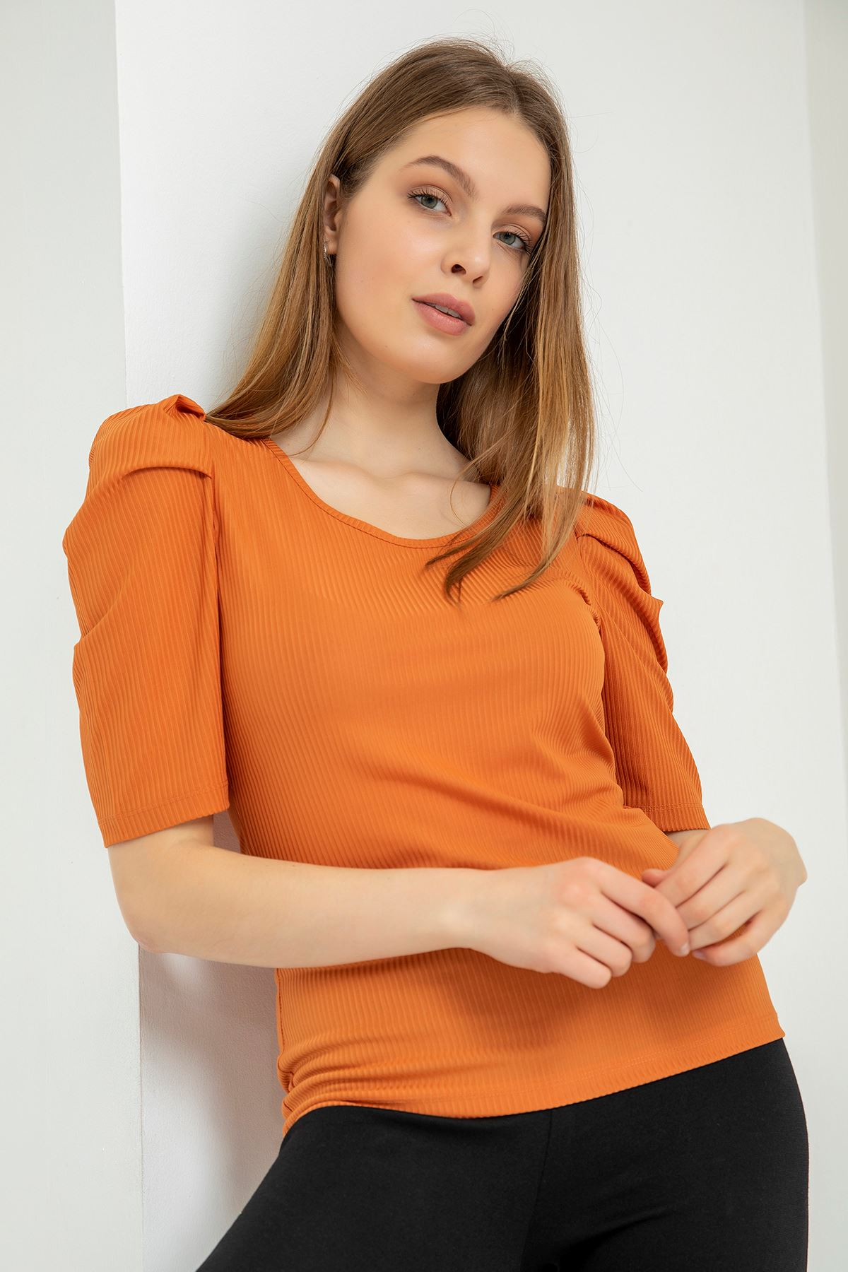 Kolu Büzgülü Kaşkorse Bluz-Kiremit