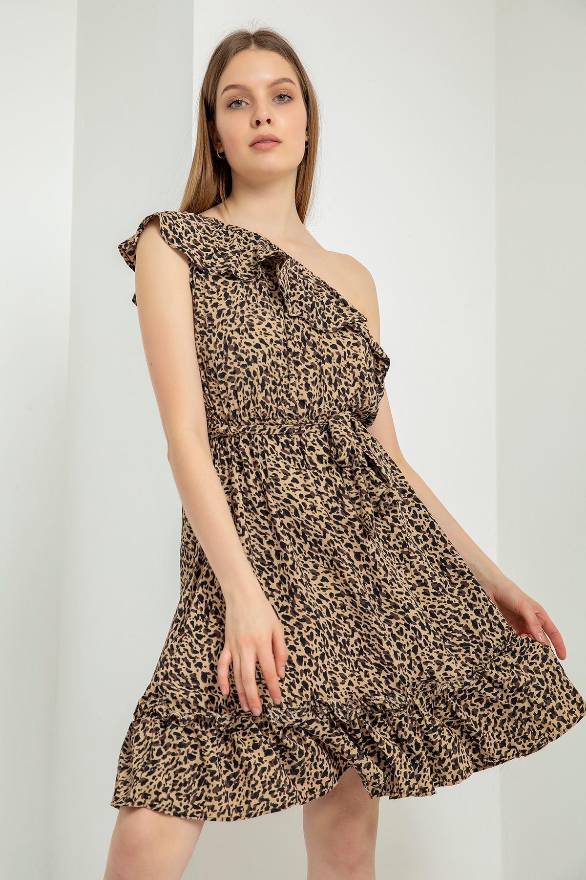 Volan Detay Şifon Elbise-Kahve