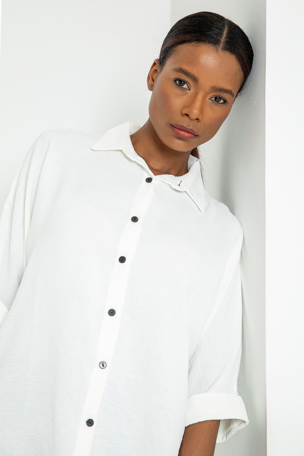 Düğmeli Salaş Gömlek-Ekru