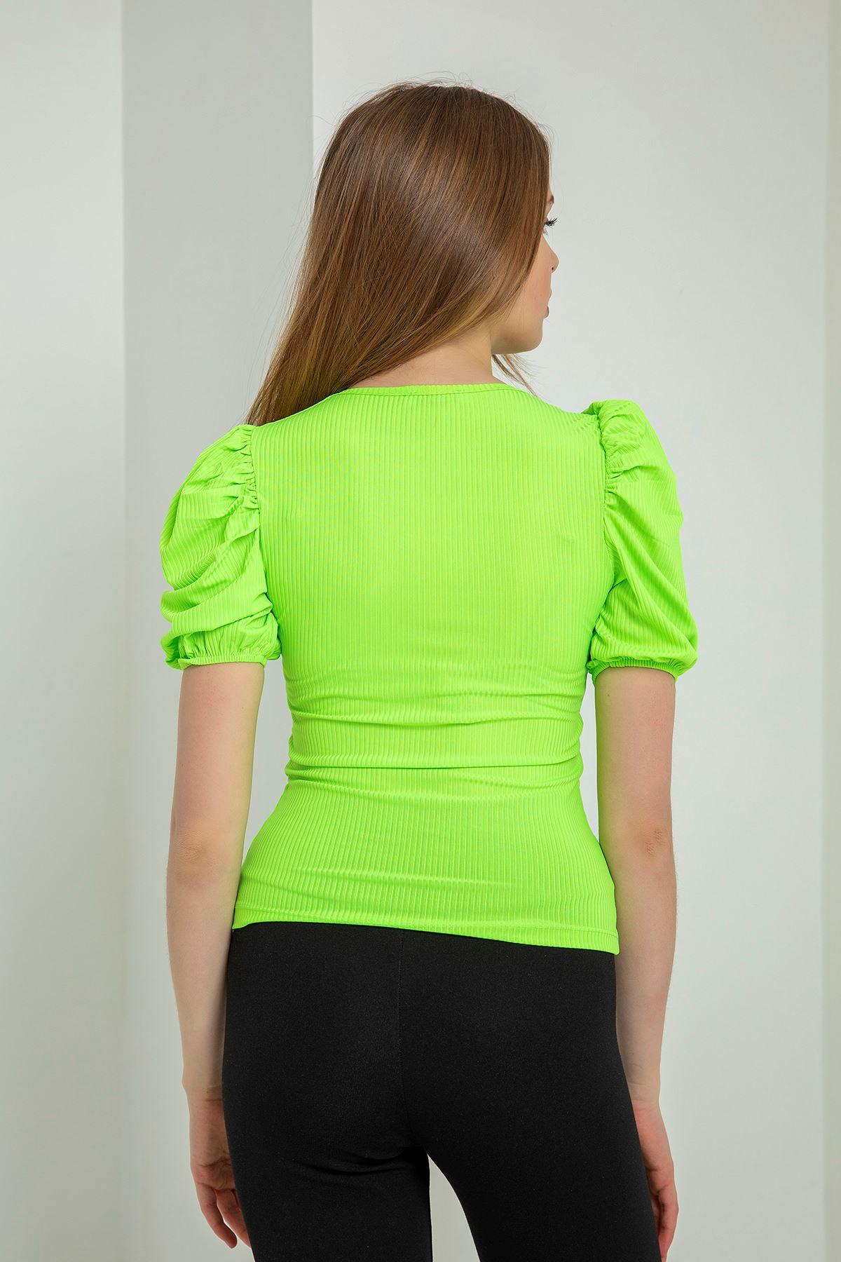 Önü Fermuarlı Kaşkorse Bluz-Neon Yeşil