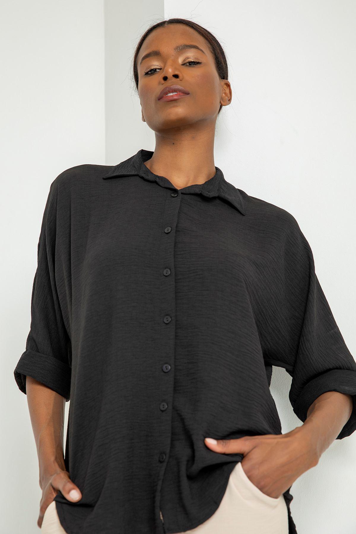 Düğmeli Salaş Gömlek-Siyah