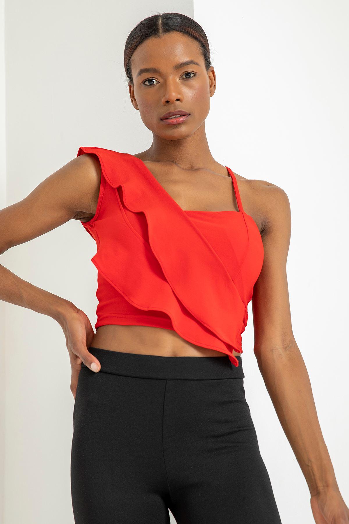 Fırfırlı Askılı Bluz-Kırmızı