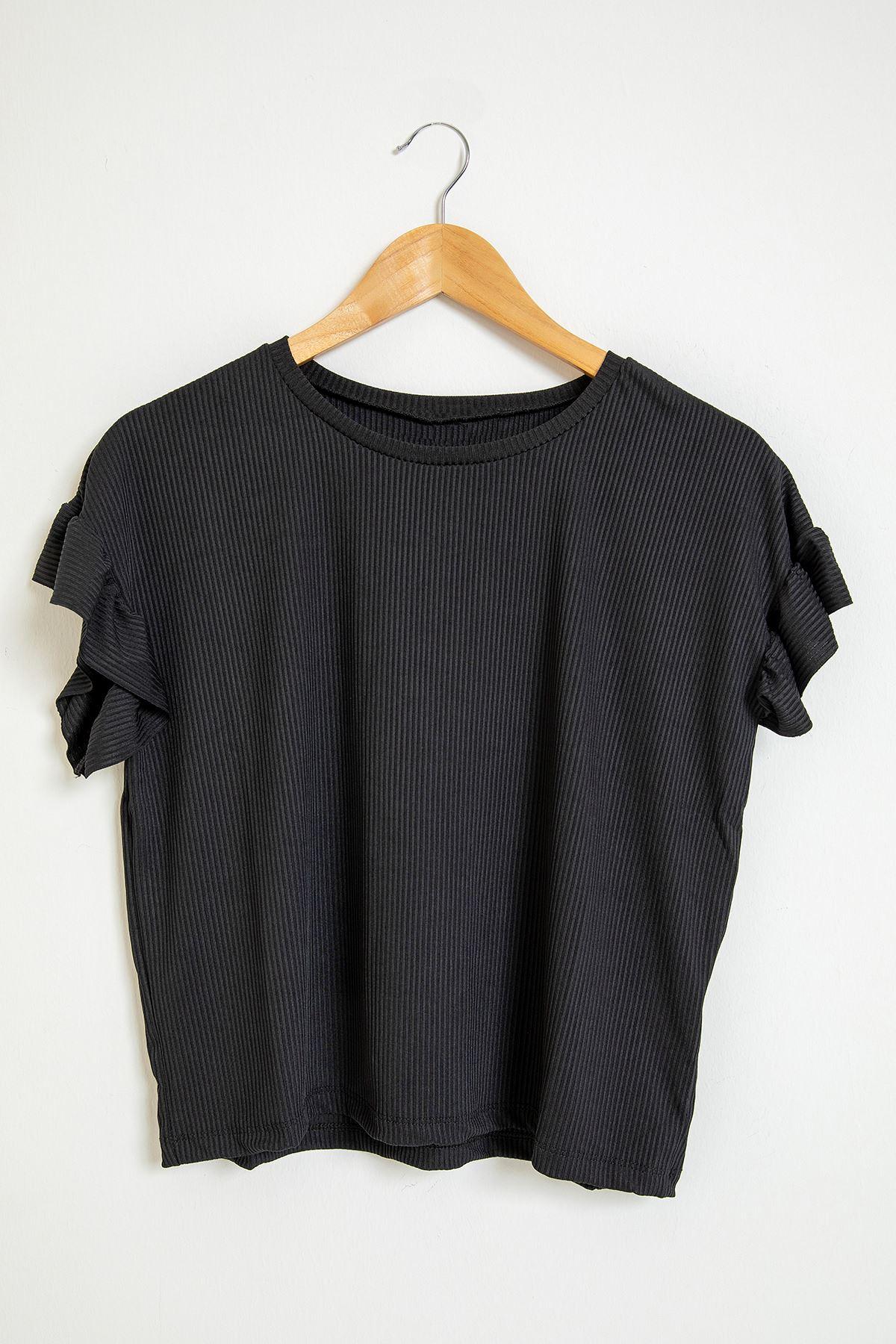 Fırfır Detay Kaşkorse Bluz-Siyah