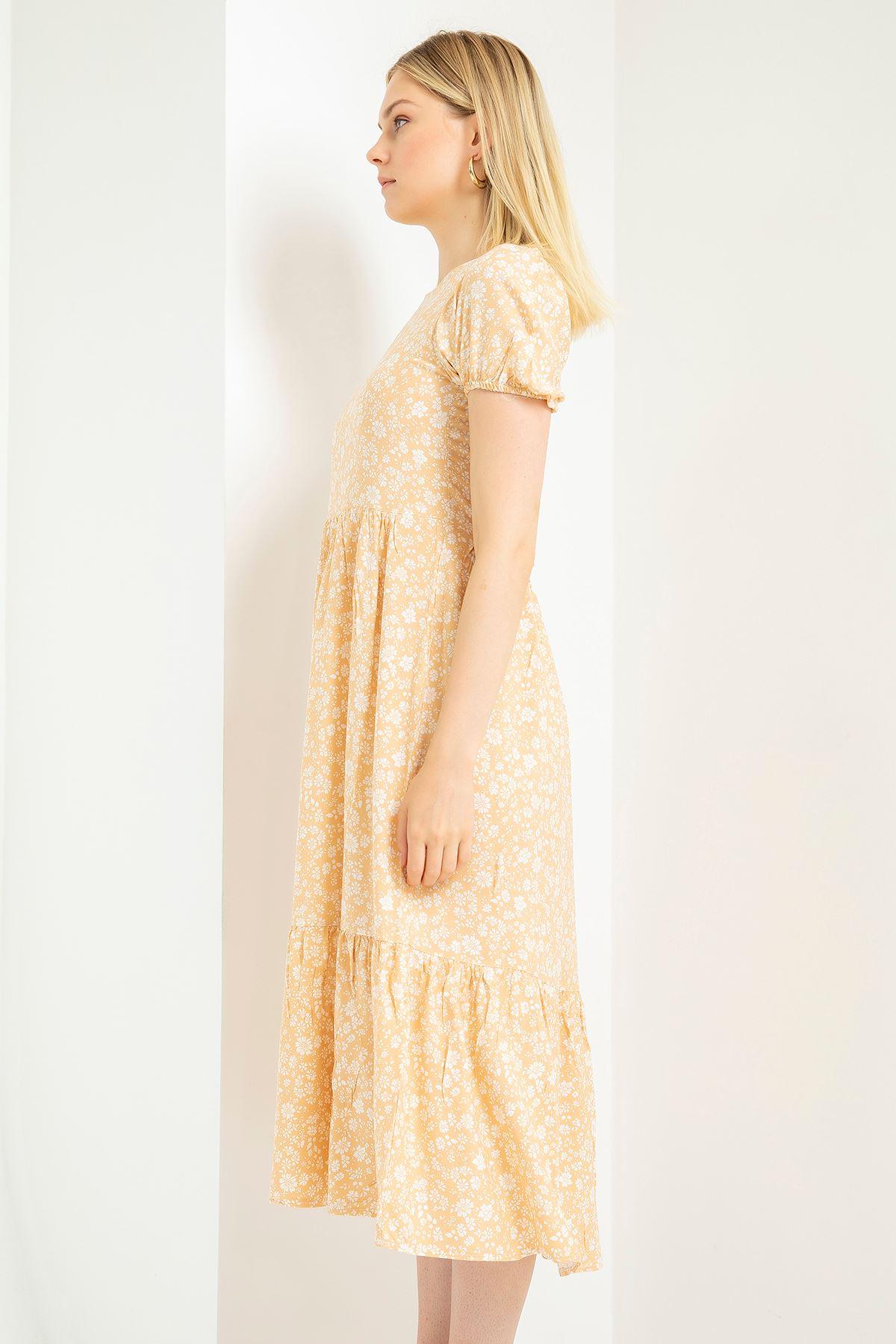 Çiçek Desenli Altı Fırfırlı Elbise-Sarı