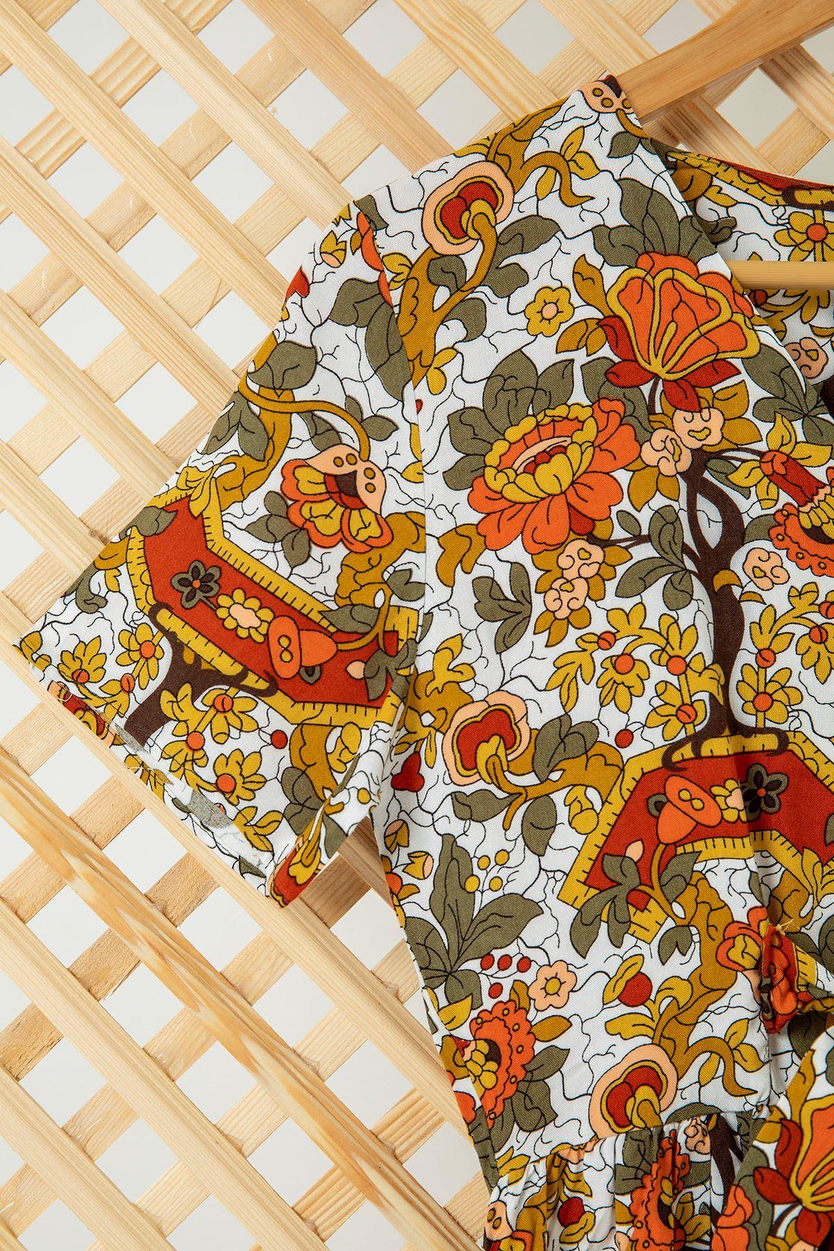 V Yaka çiçek Desen Elbise-Beyaz