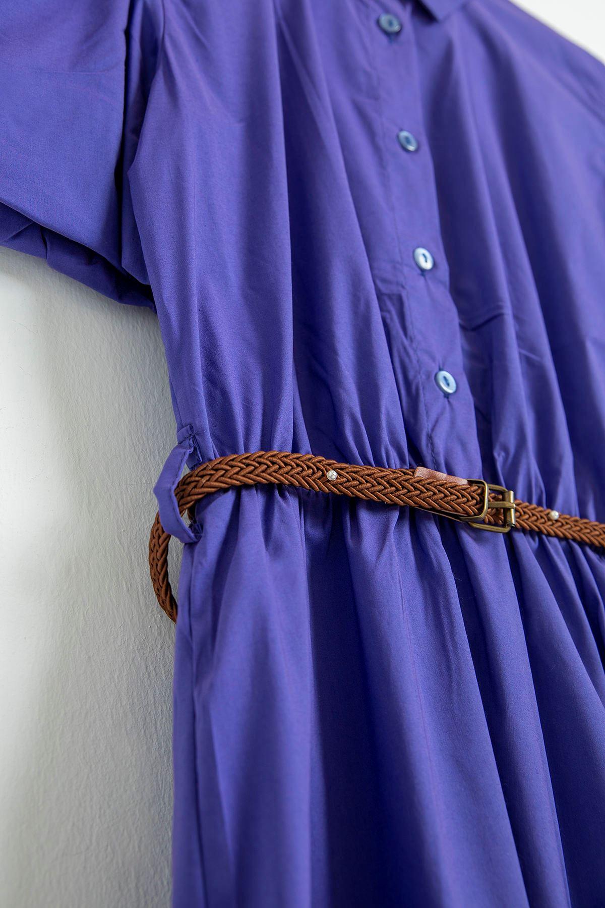 Balon Kol Kolları Lastikli Elbise-Mor