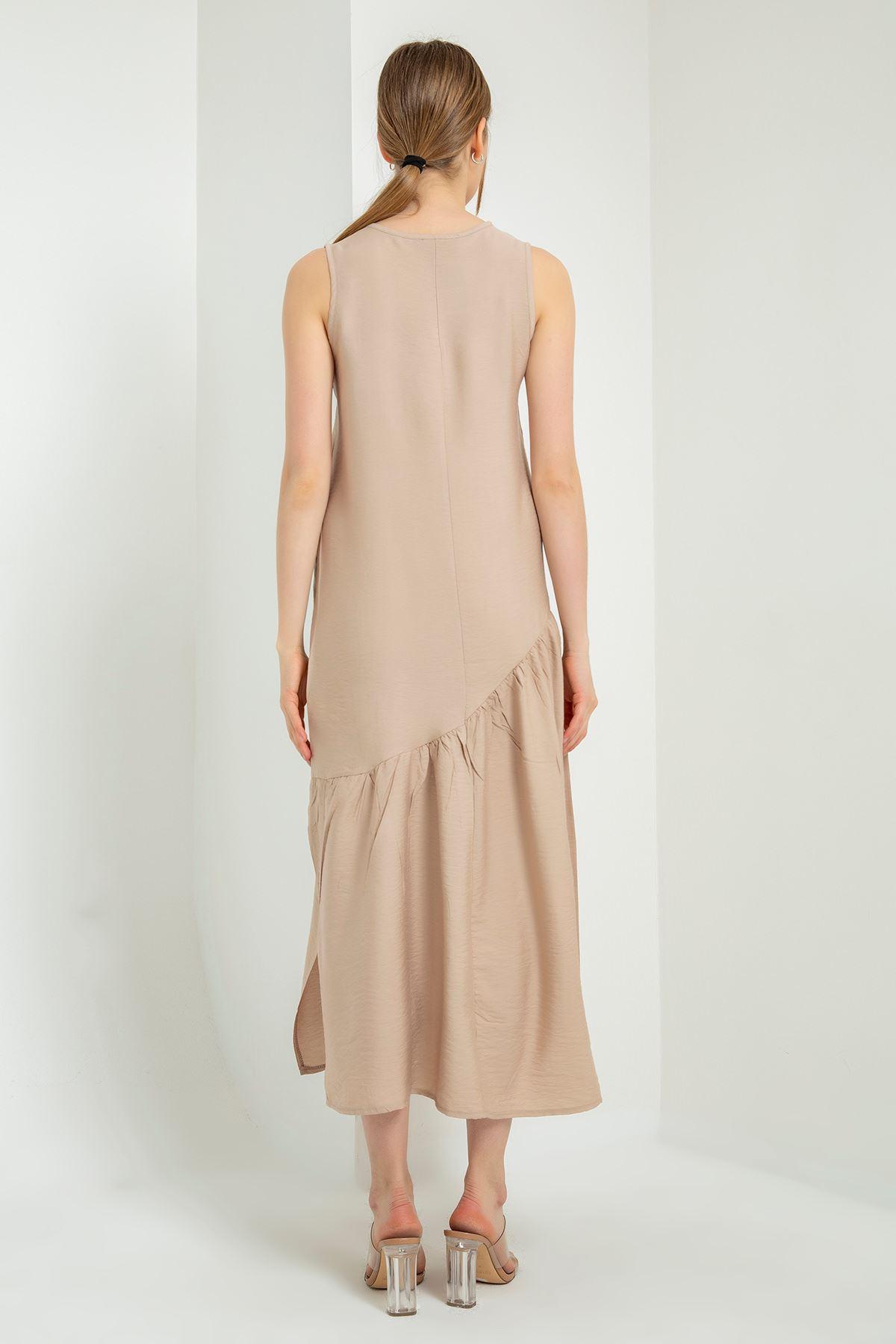 Sıfır Kol Salaş Elbise-Taş