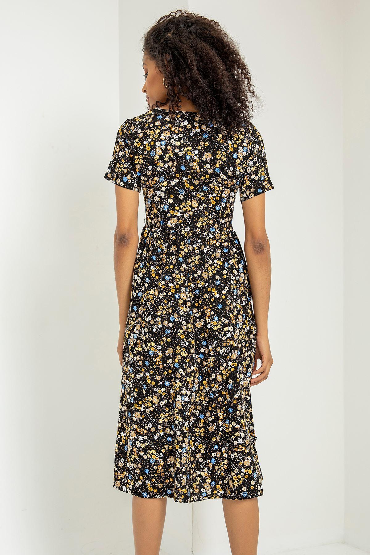 Kuşaklı Çiçek Desen Elbise-Siyah