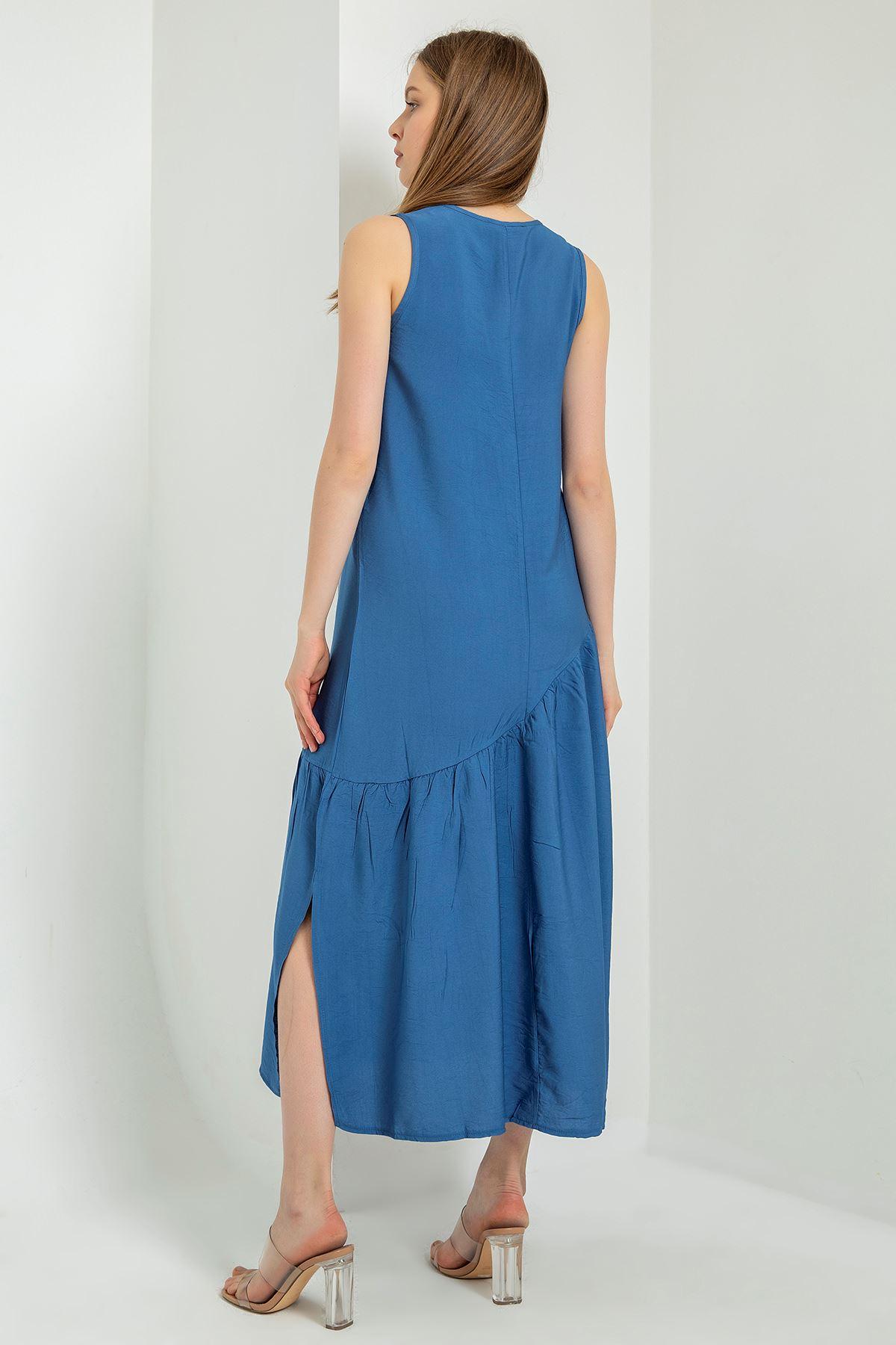 Sıfır Kol Salaş Elbise-İndigo