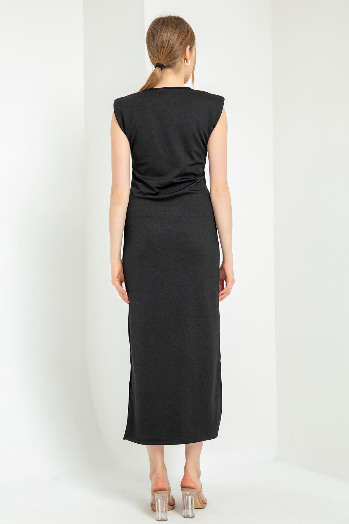 Vatkalı Uzun Elbise-Siyah