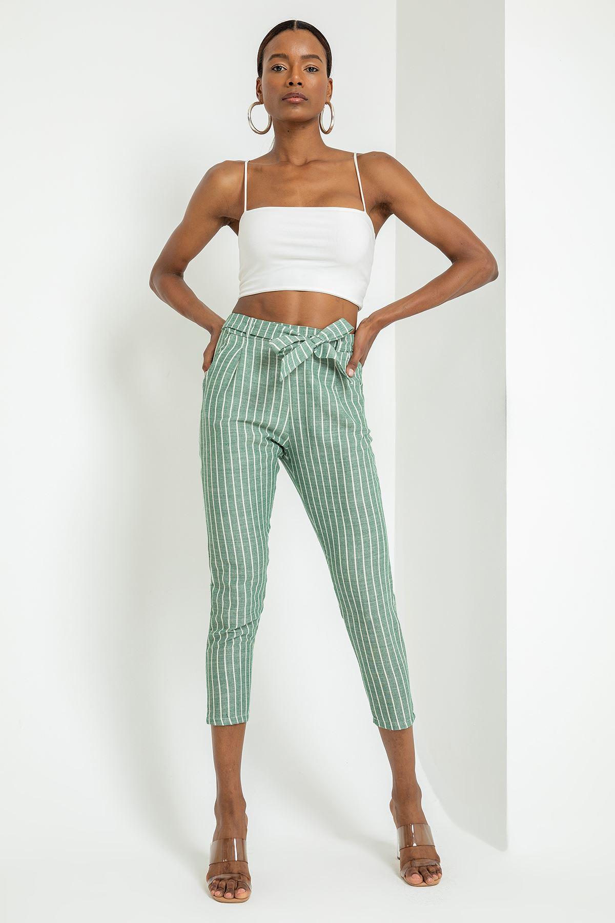 Çizgili Bağlamalı Keten Pantolon-ÇAĞLA