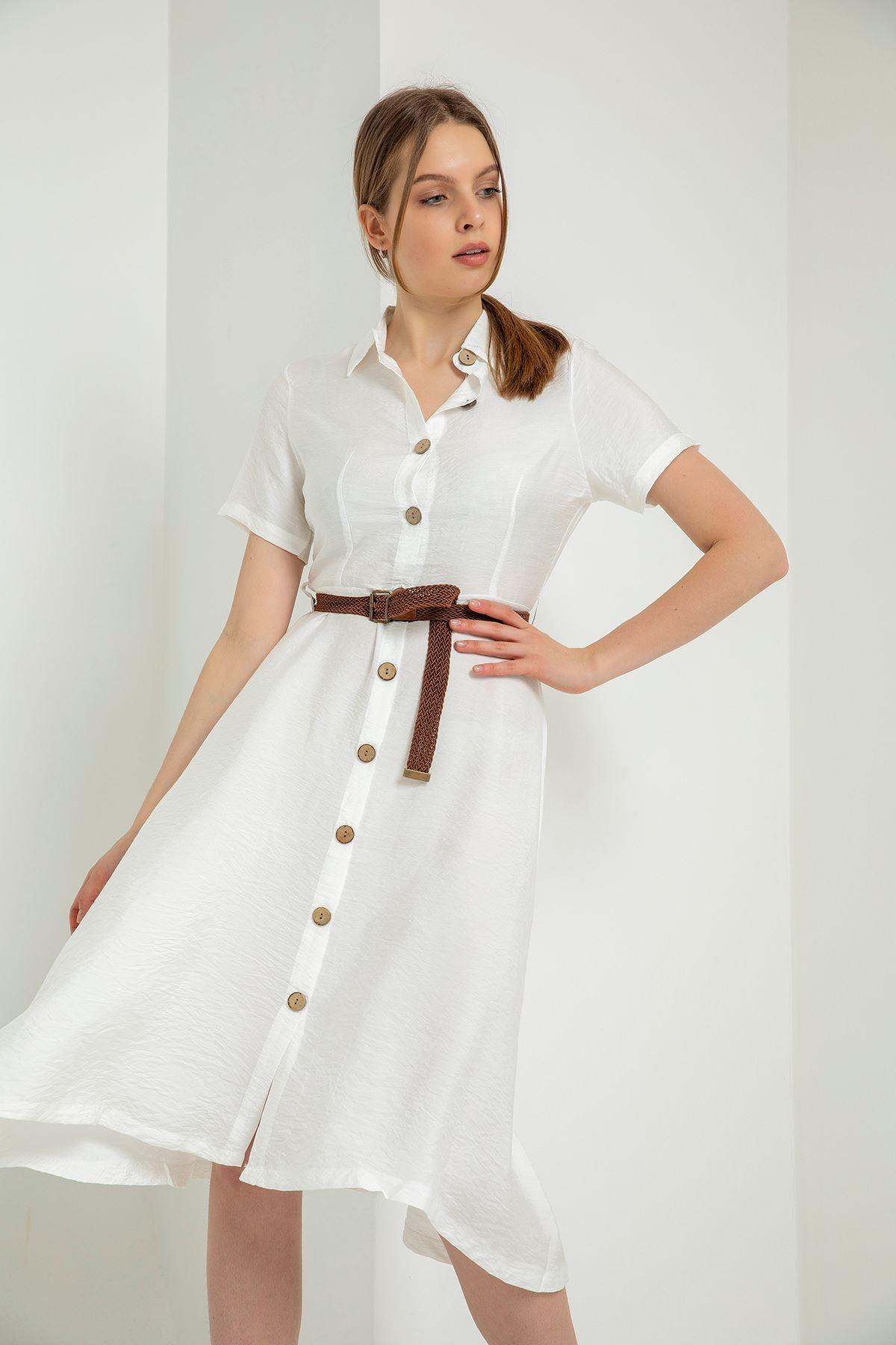 Kısa Kollu Kemerli Elbise-Beyaz