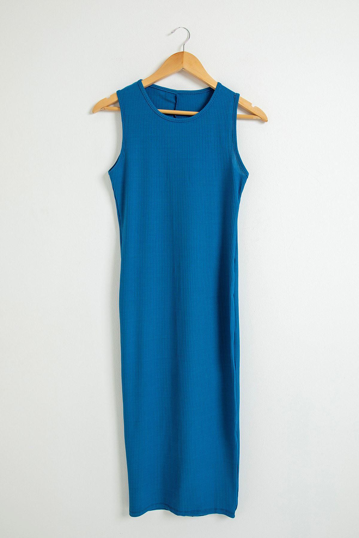 Kaşkorse Sıfır Kol Uzun Elbise-İndigo