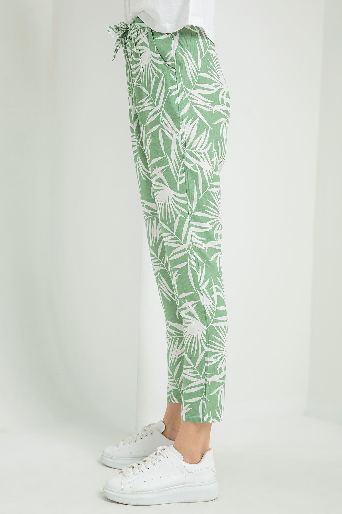 Palmiye Desenli Pantolon-Mint