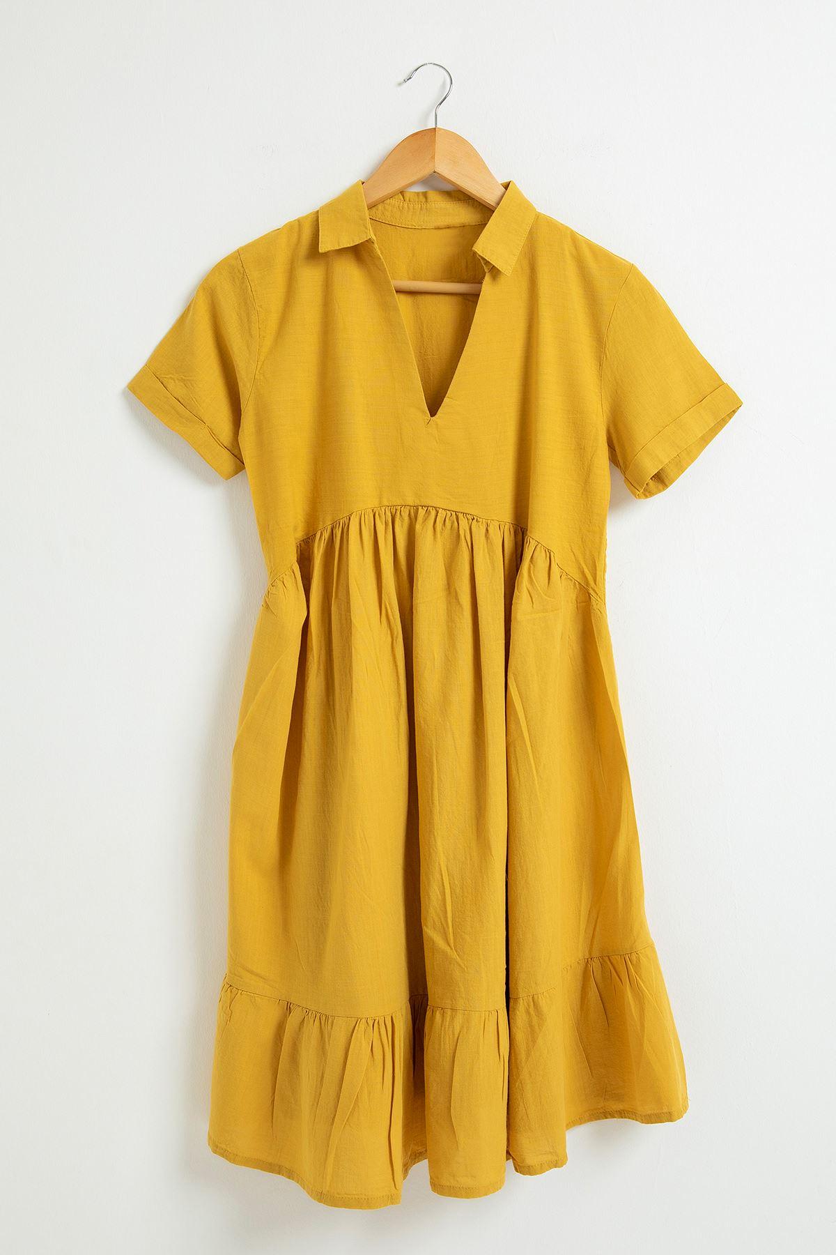 Eteği Fırfırlı Kısa Kol Elbise-Hardal
