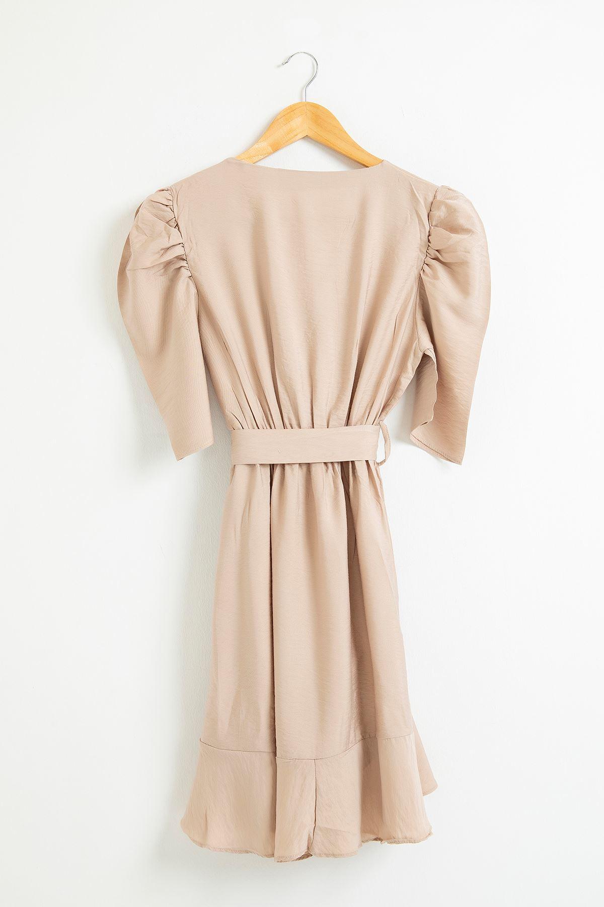 Eteği Fırfırlı Kemerli Elbise-Taş