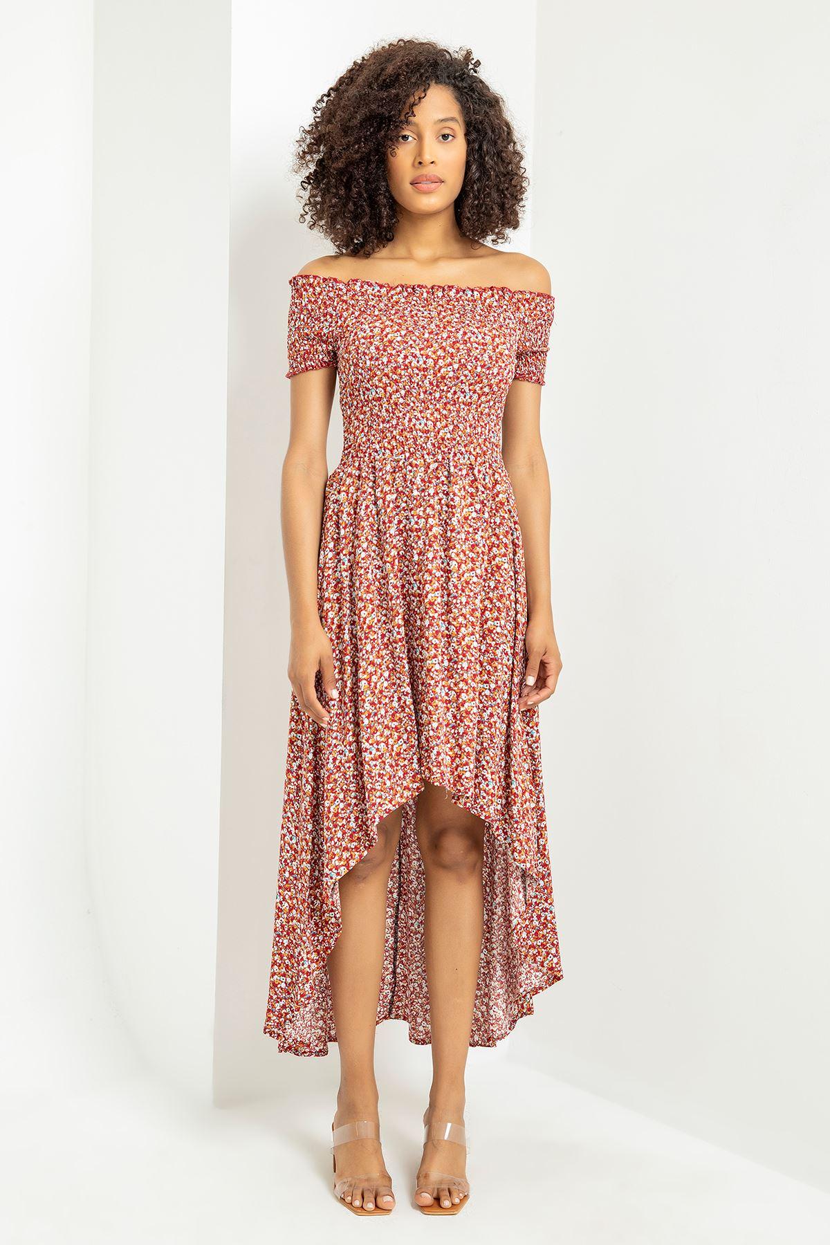 Gipeli Çıtır Çiçek Desen Elbise-Kiremit