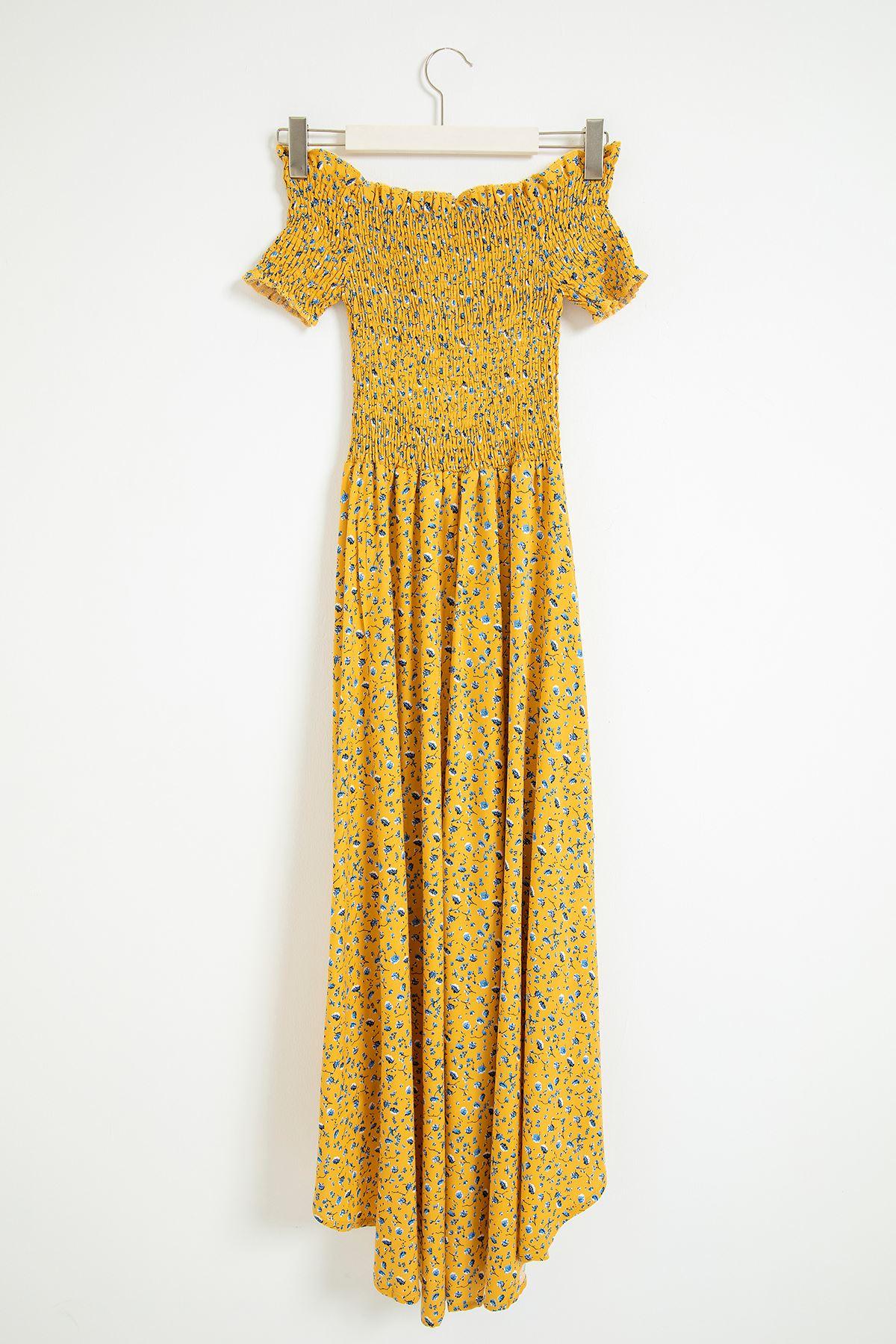 Gipeli Çıtır Çiçek Desen Elbise-Hardal