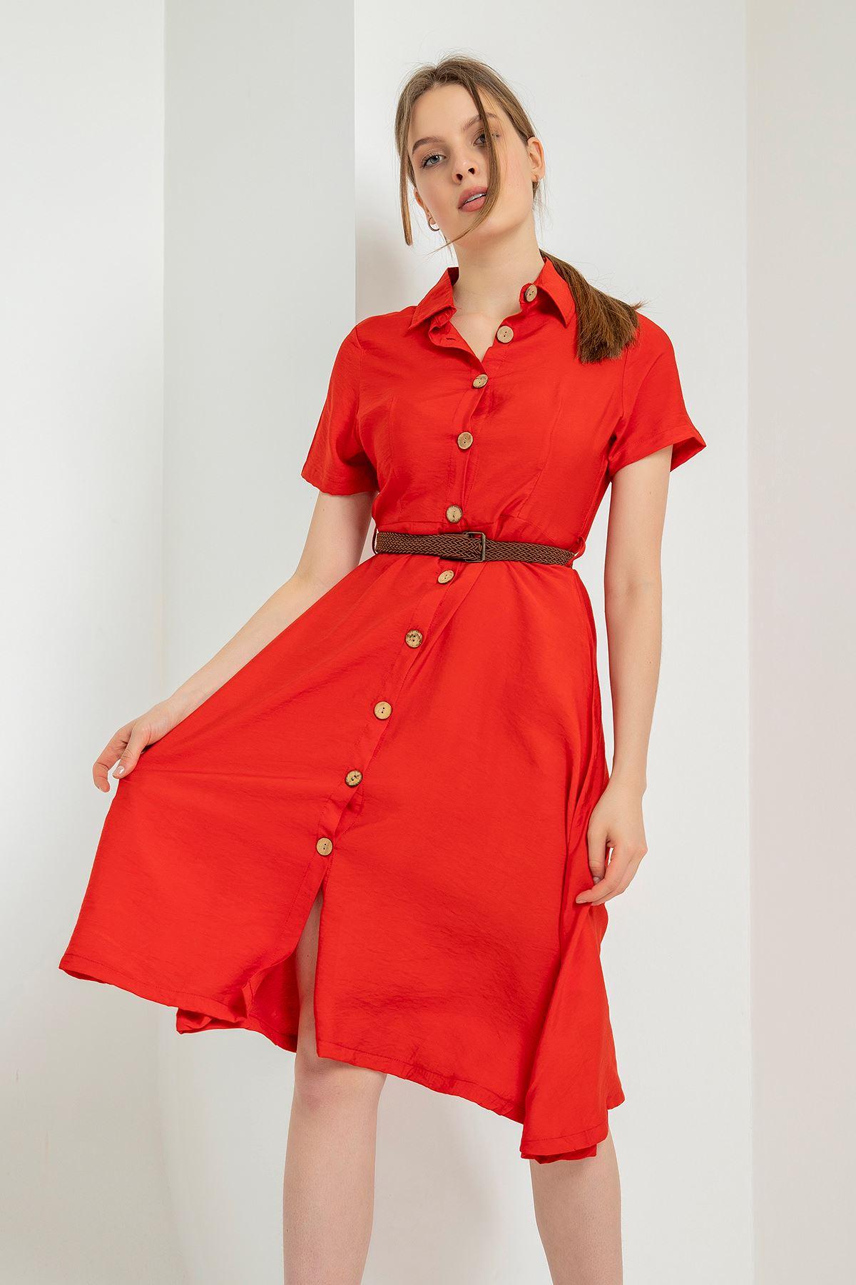 Kısa Kollu Kemerli Elbise-Kırmızı